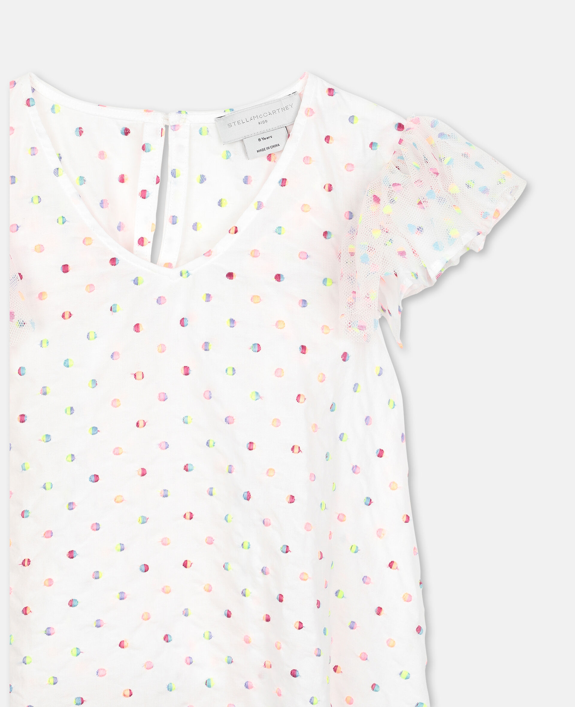 Embroidered Dots Tulle Top -Multicoloured-large image number 1