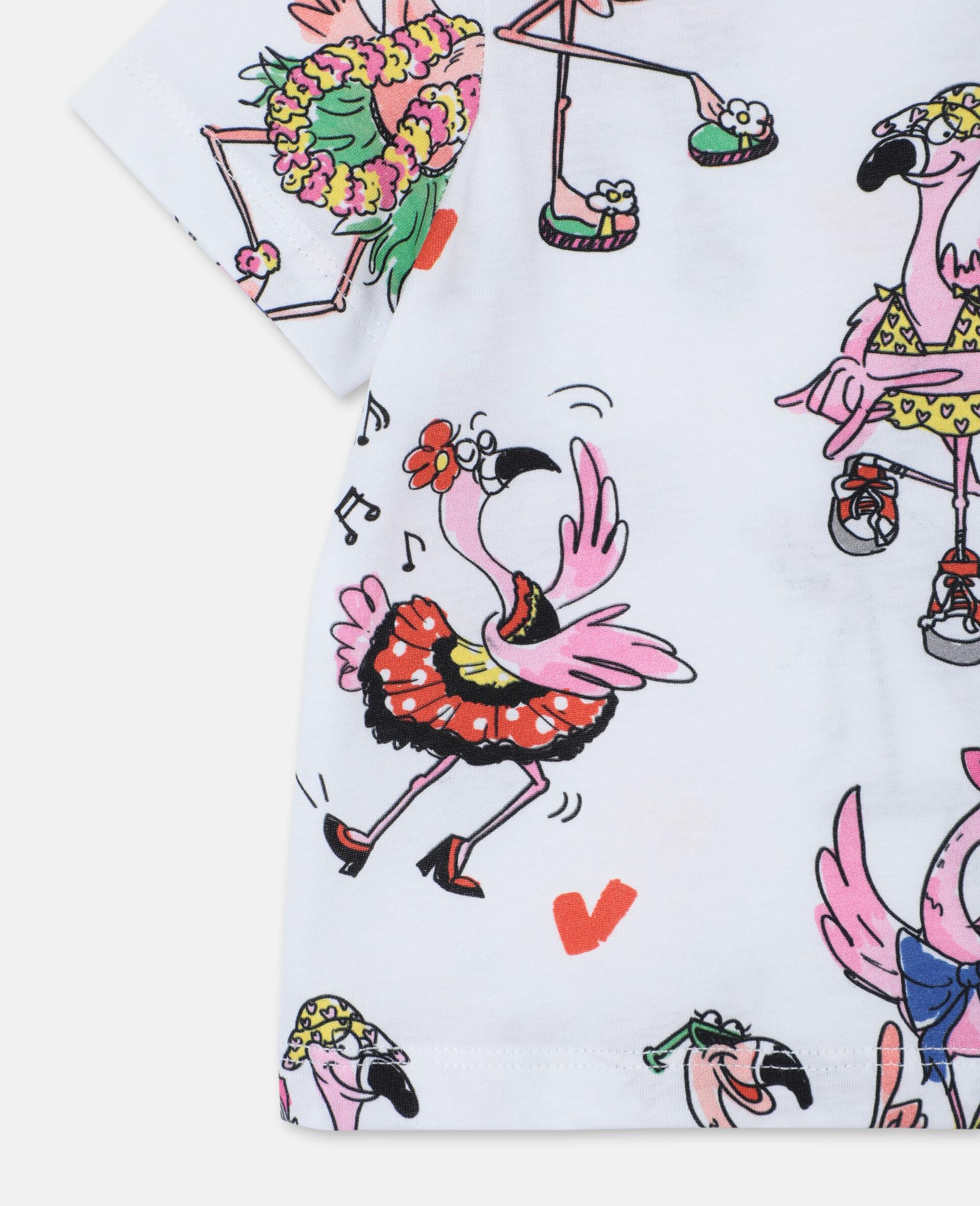 Flamingo Party Cotton T-shirt -Multicolour-large image number 2