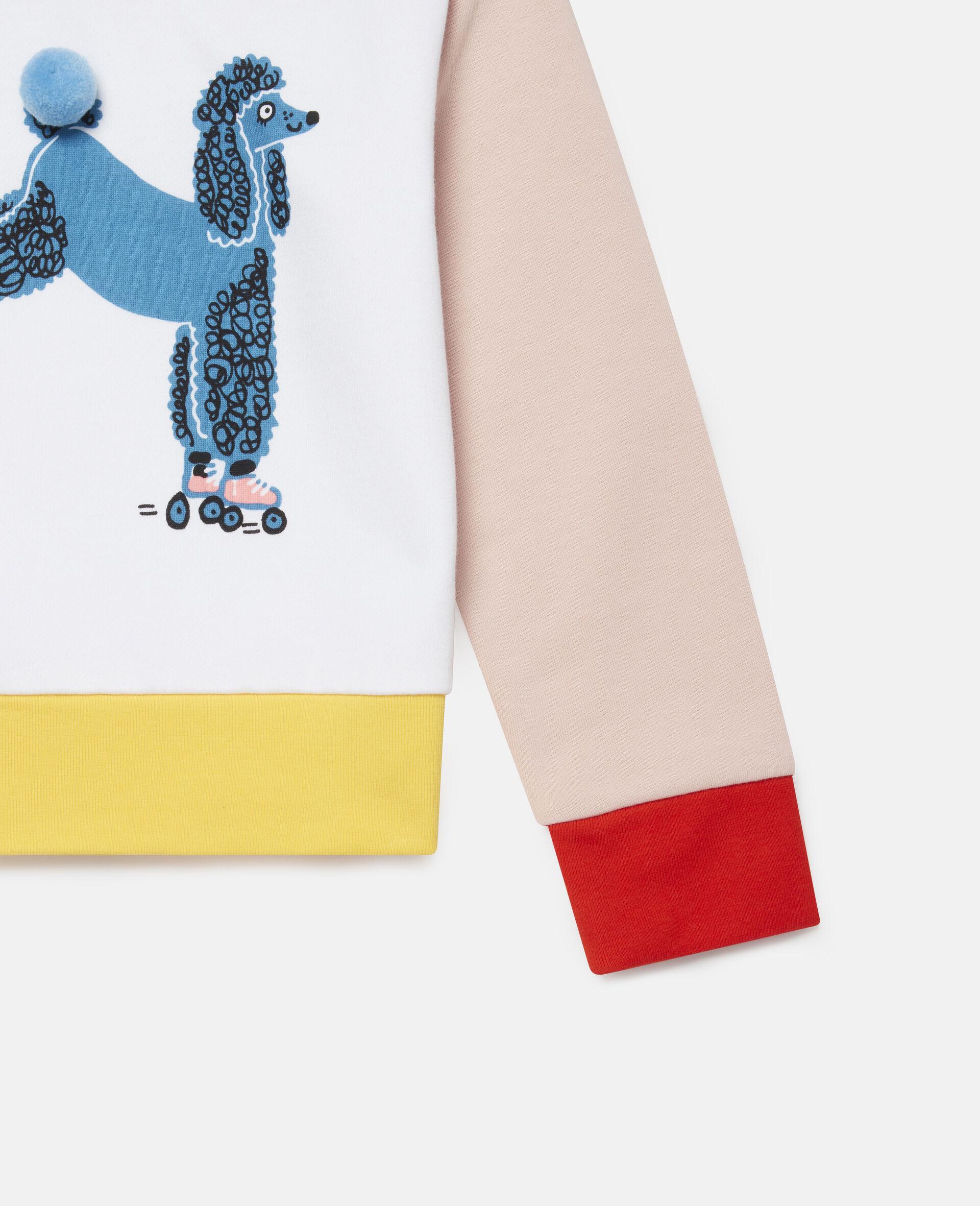 Sweatshirt aus Fleece mit Pudel auf Rollerskates -Weiß-large image number 2