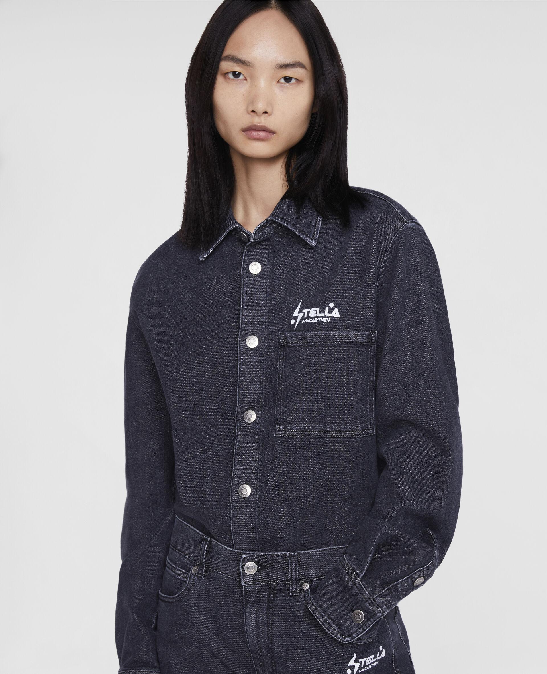Tom Tosseyn Stella Logo Denim Shirt-Black-large image number 4