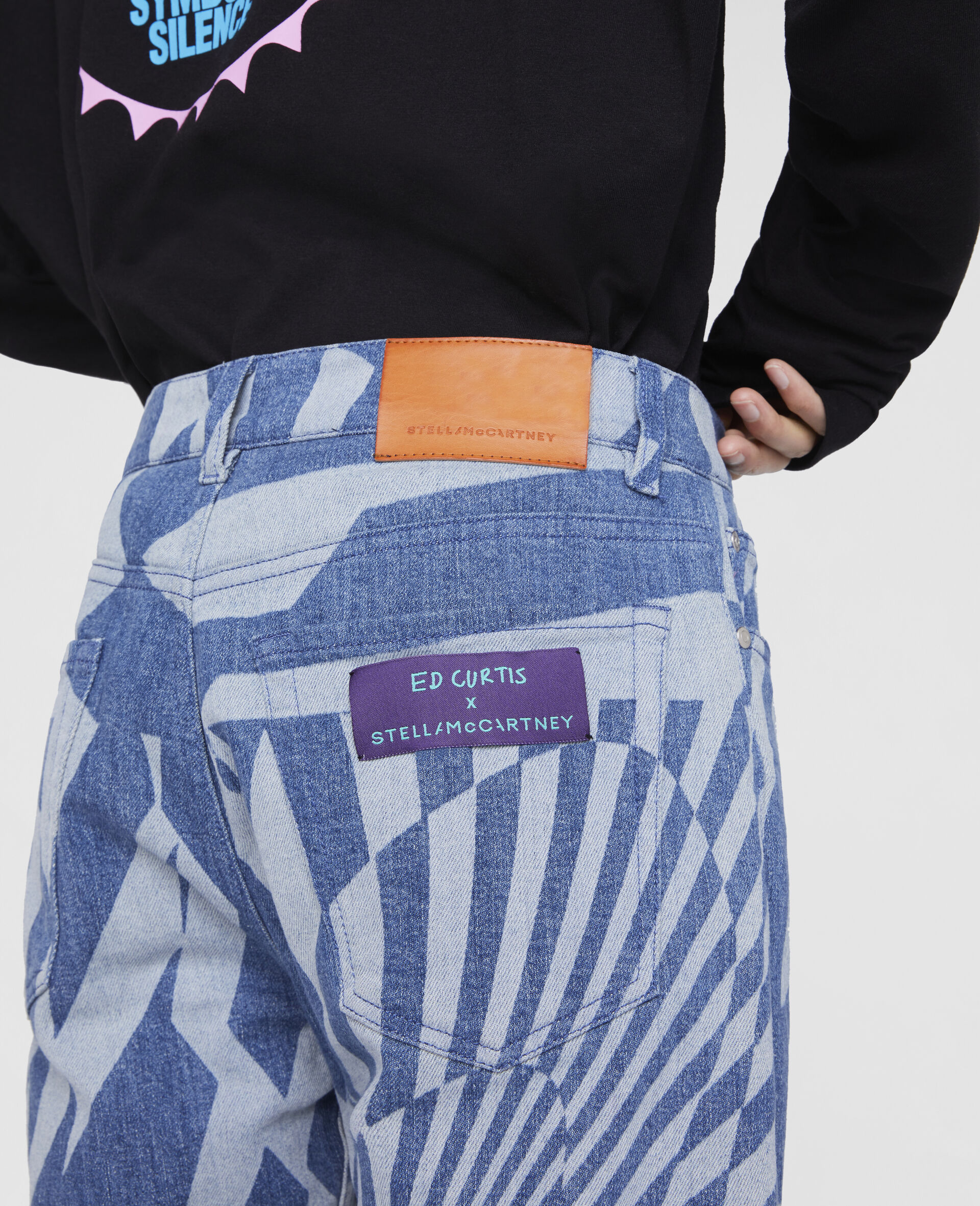 Ed Curtis Psychedelic Denim Trousers-Blue-large image number 4