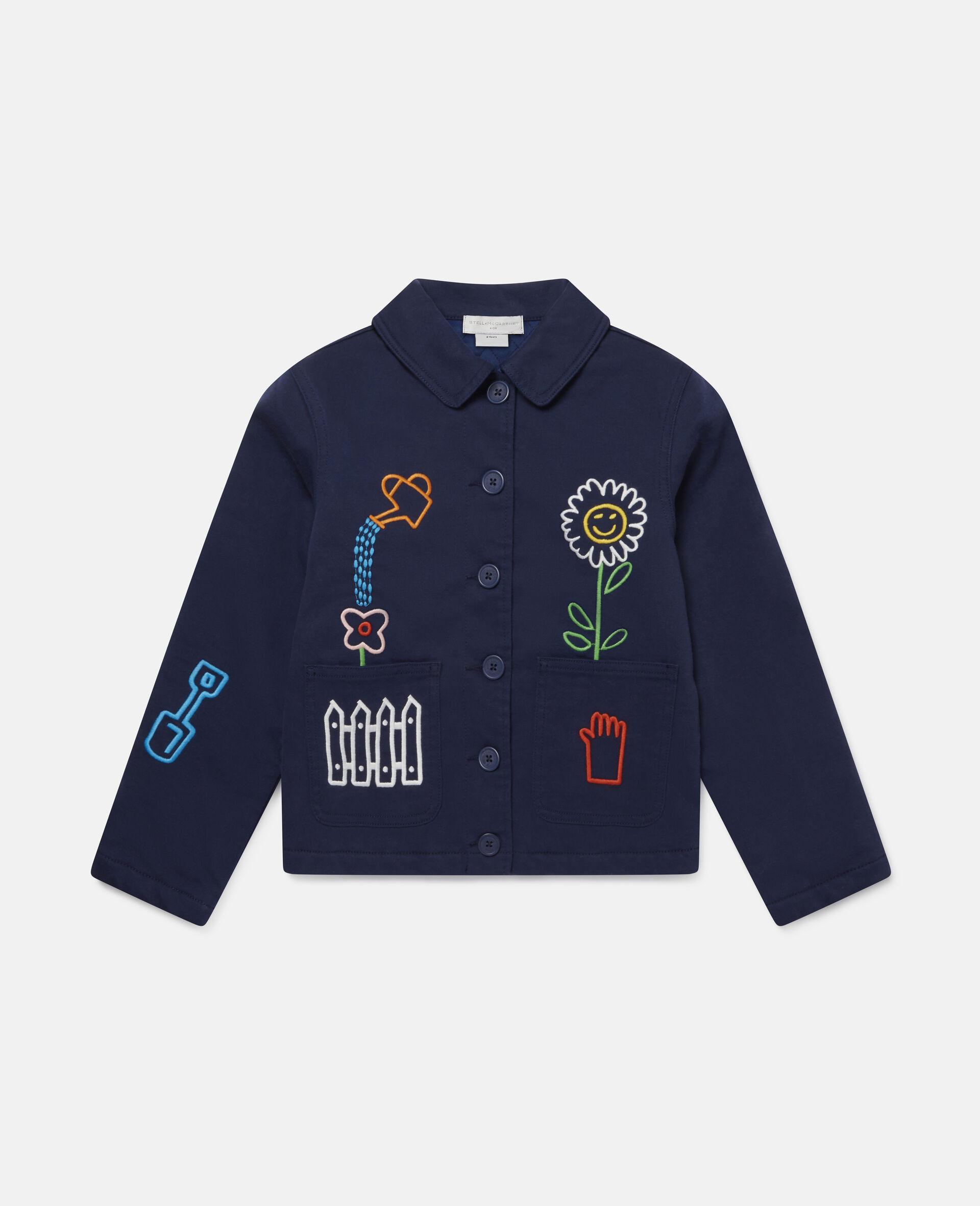 Embroidered Garden Denim Jacket -Blue-large image number 0