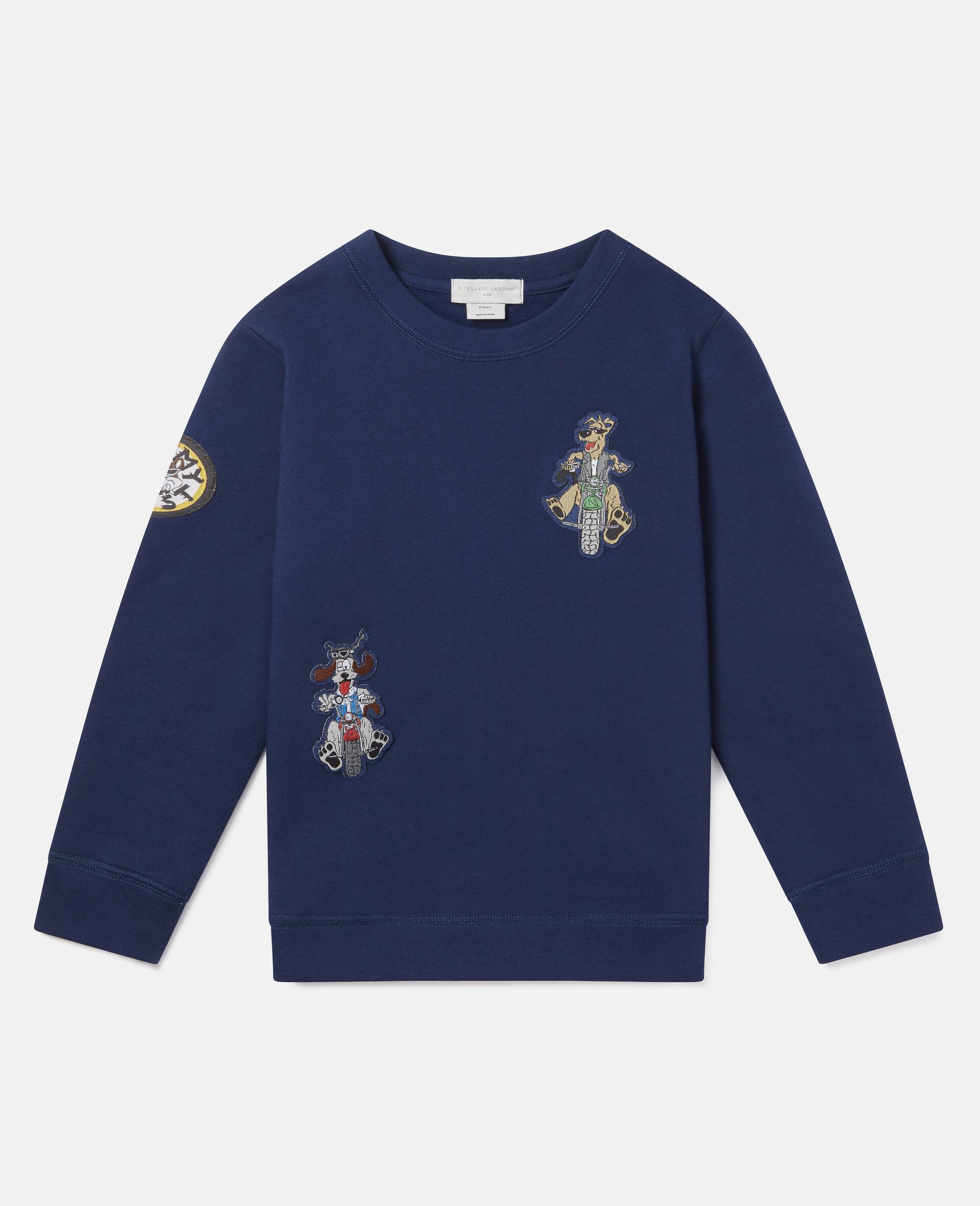Sweat-shirt en polaire écussons chiens motards-Bleu-large image number 0