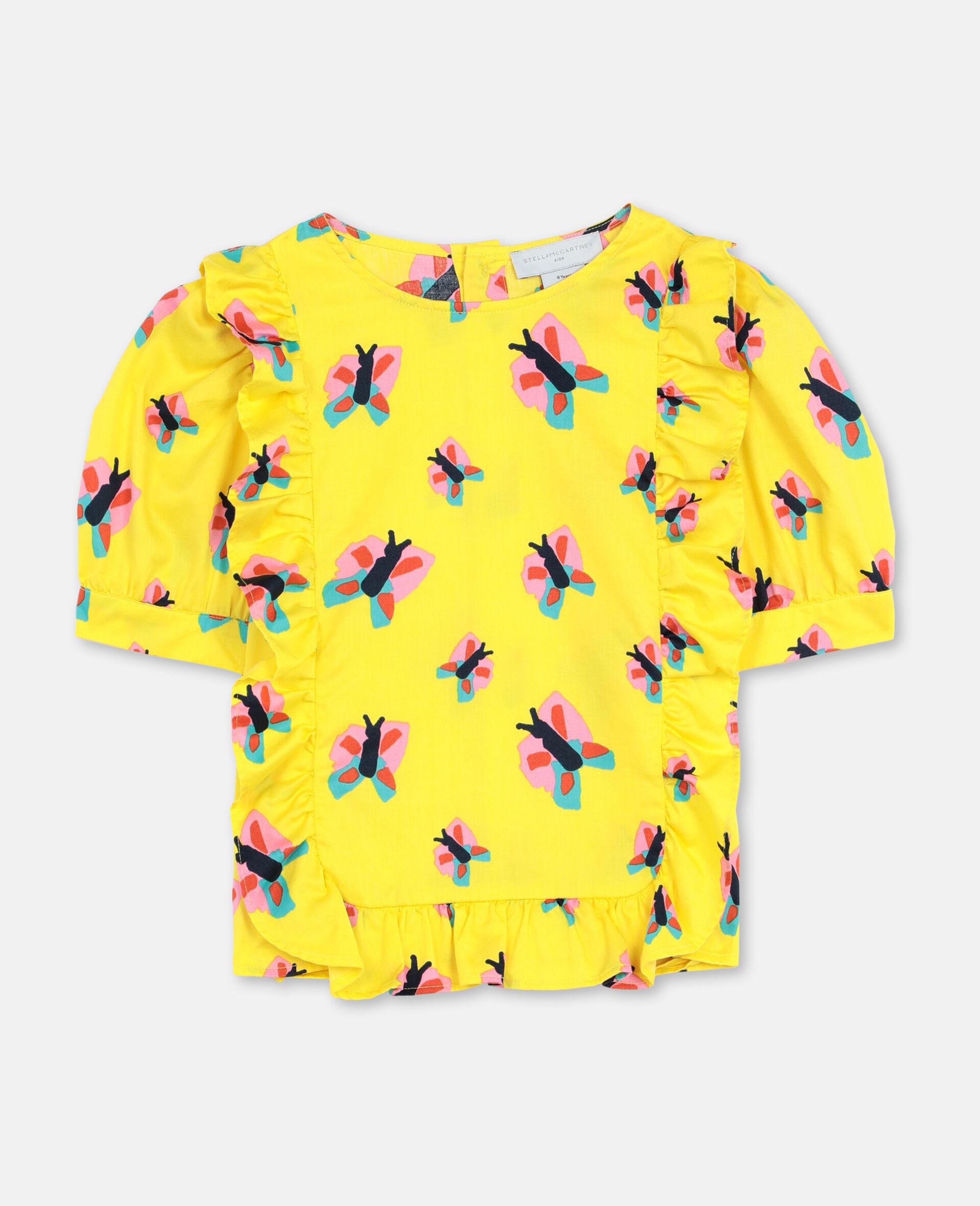 Baumwolltop mit Schmetterlingen-Gelb-large image number 0