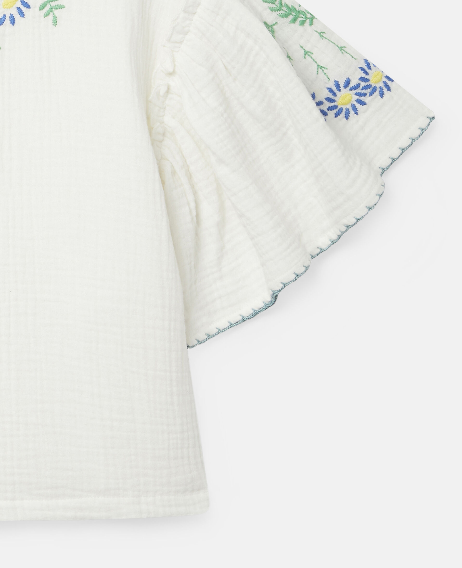 Embroidered Flowers Cotton Top-White-large image number 1