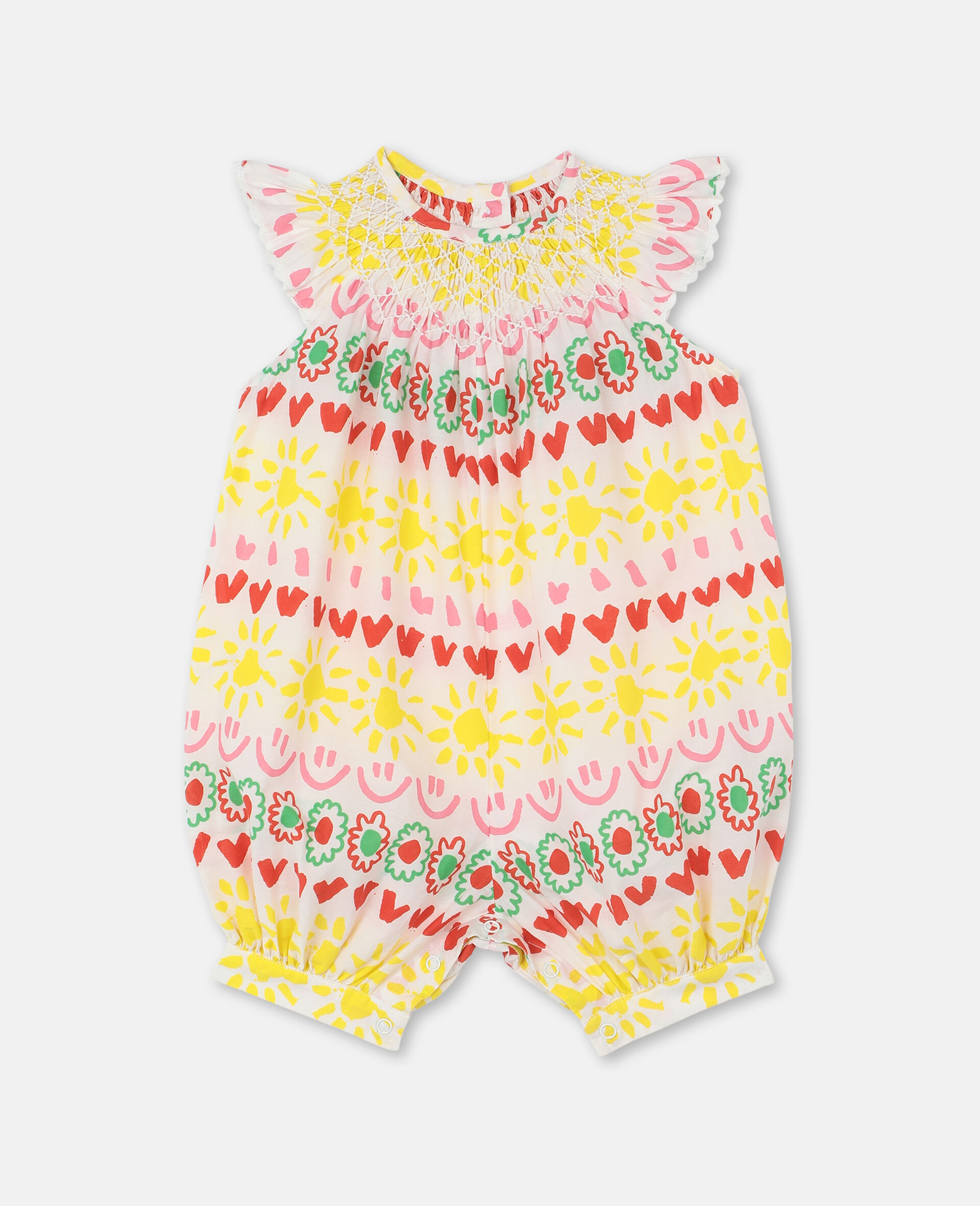 Happy Spripes Cotton Jumpsuit -Yellow-large image number 0
