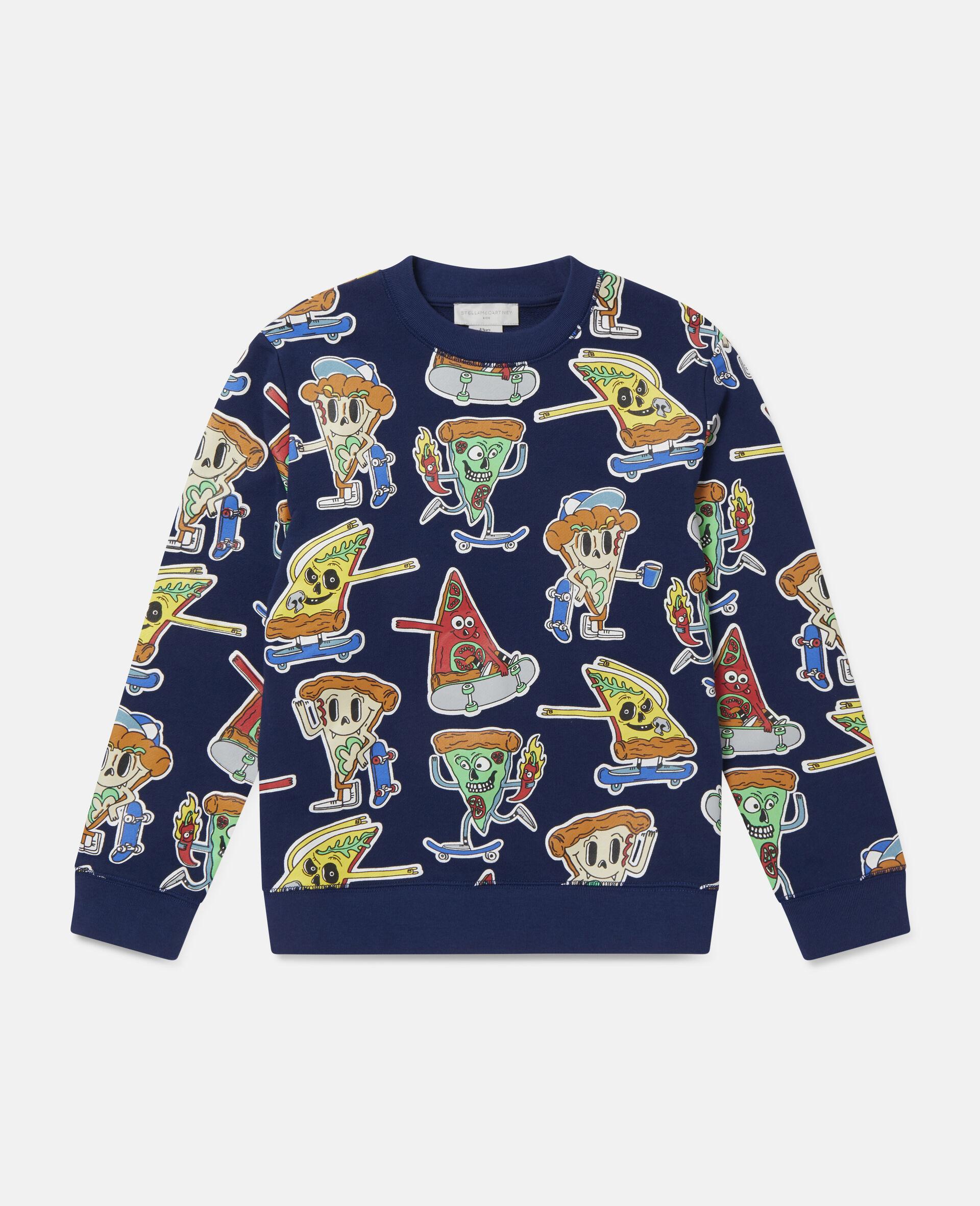 Fleece-Sweatshirt mit Pizza-Skater-Motiv-Blau-large image number 0