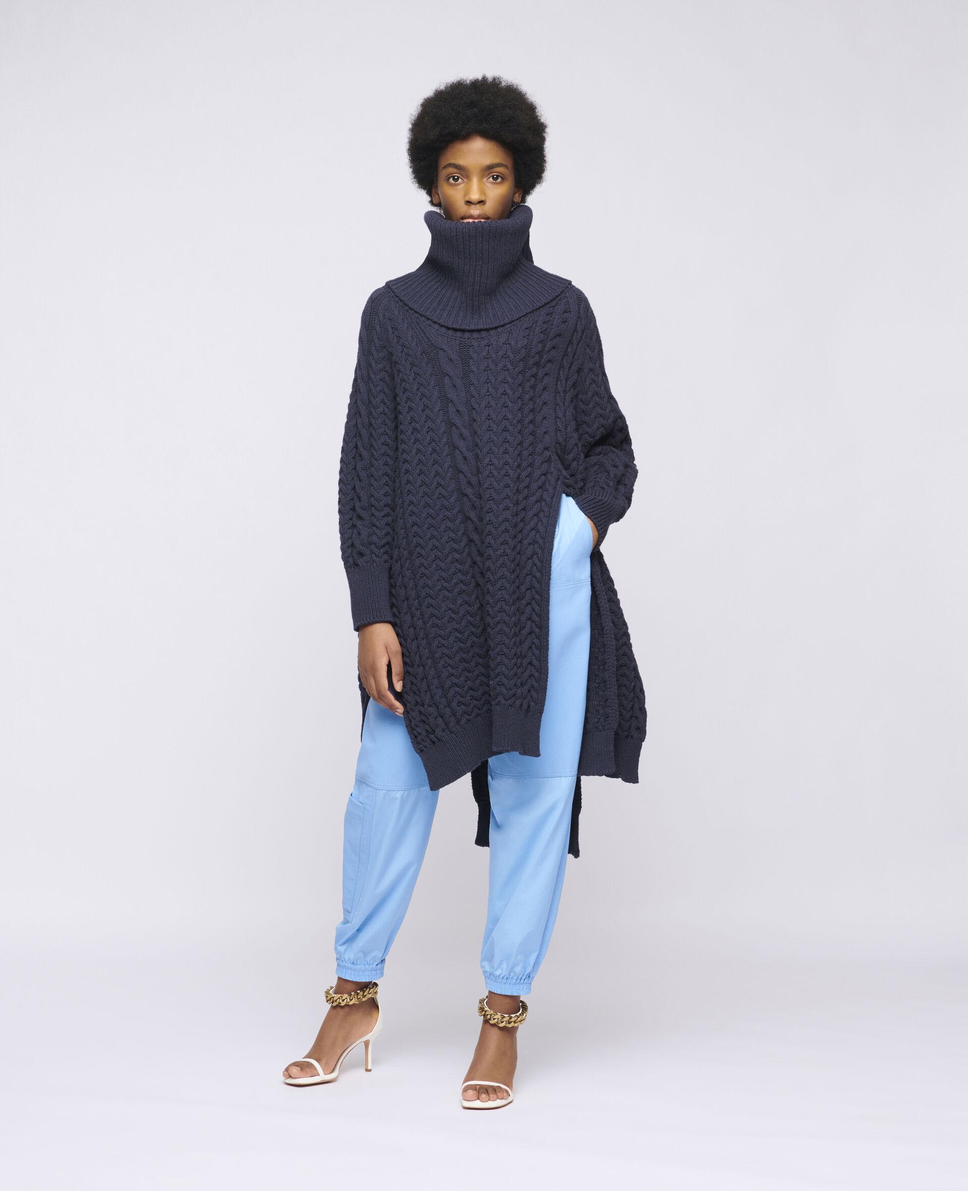 Aran Stitch Cape-Blue-large image number 1
