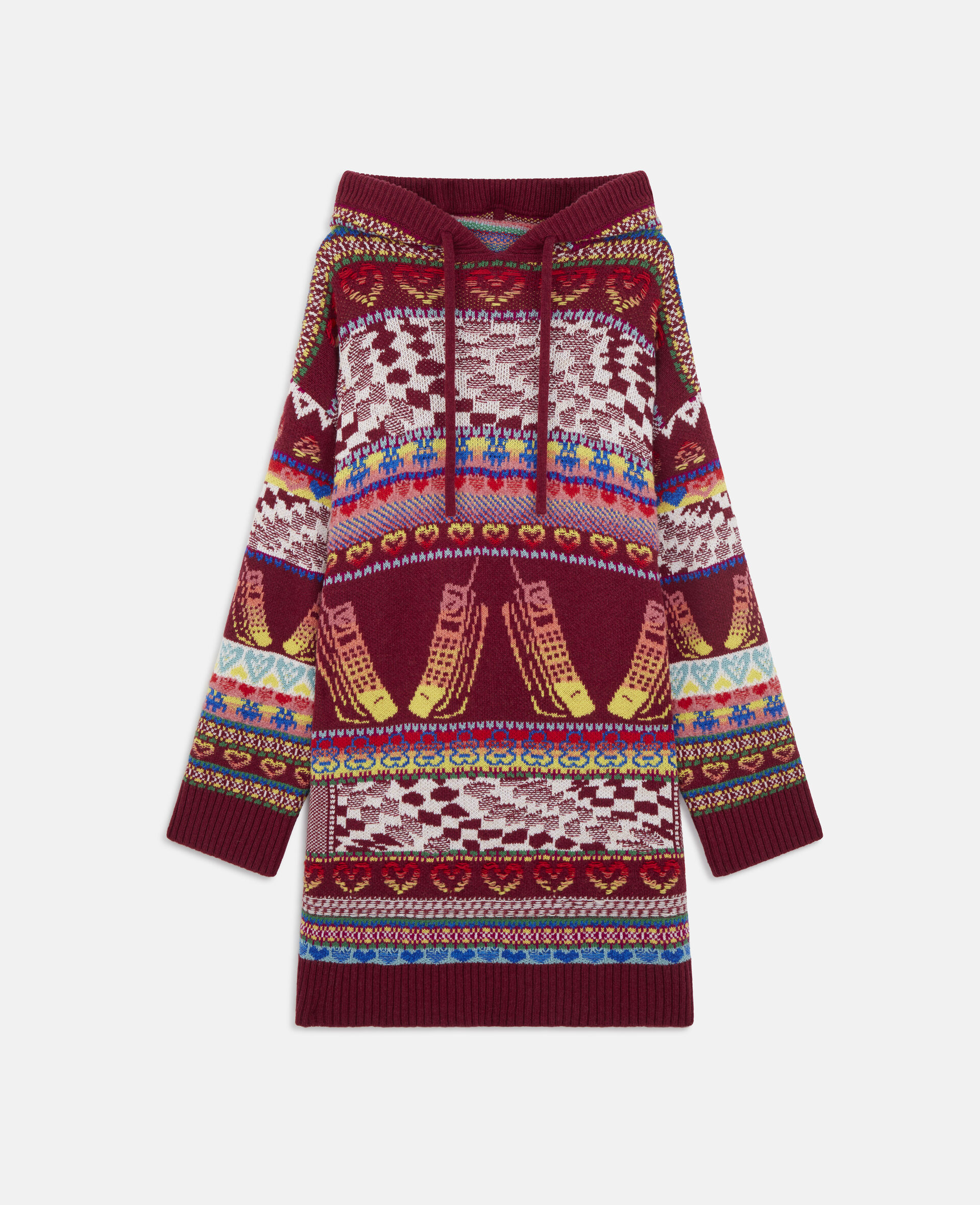 Keep In Touch' Hooded Dress-Multicolour-large image number 0