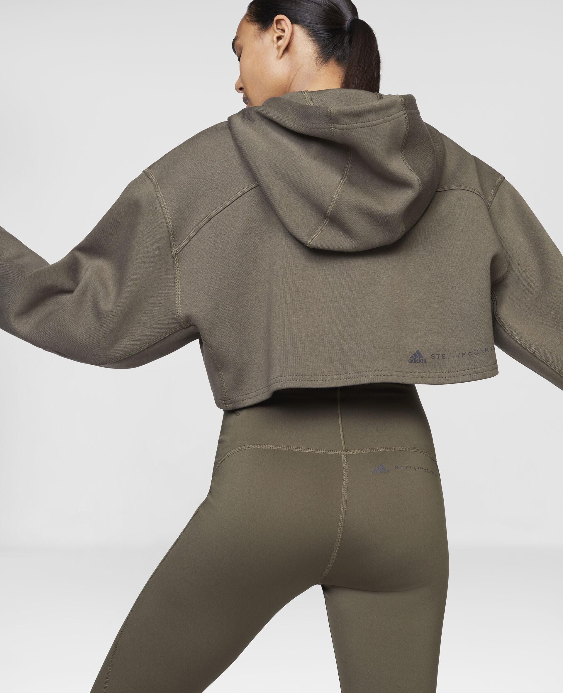 Dark Khaki Training Crop Hoodie-Brown-large image number 3