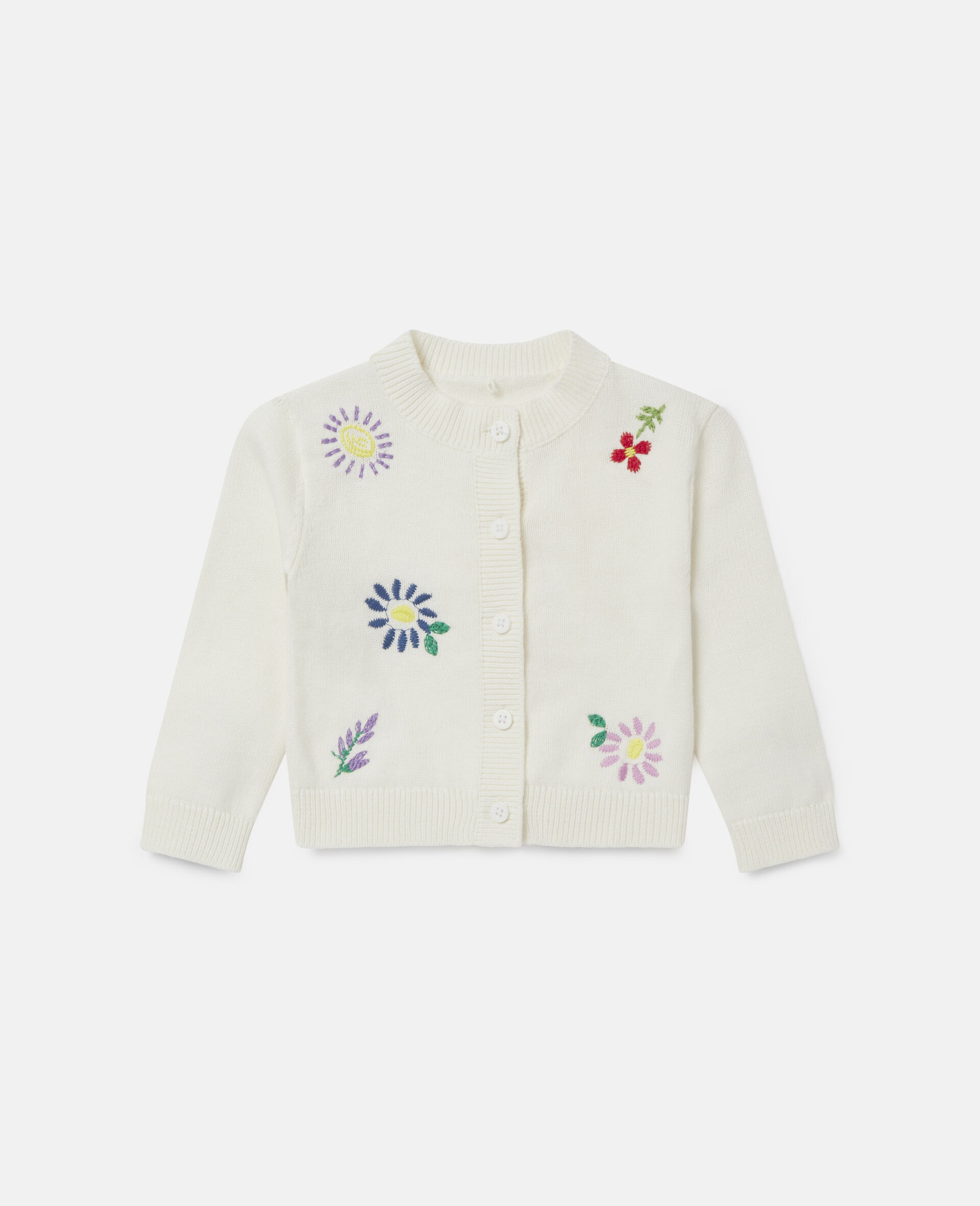 Embroidered Flowers Cardigan-White-large image number 0