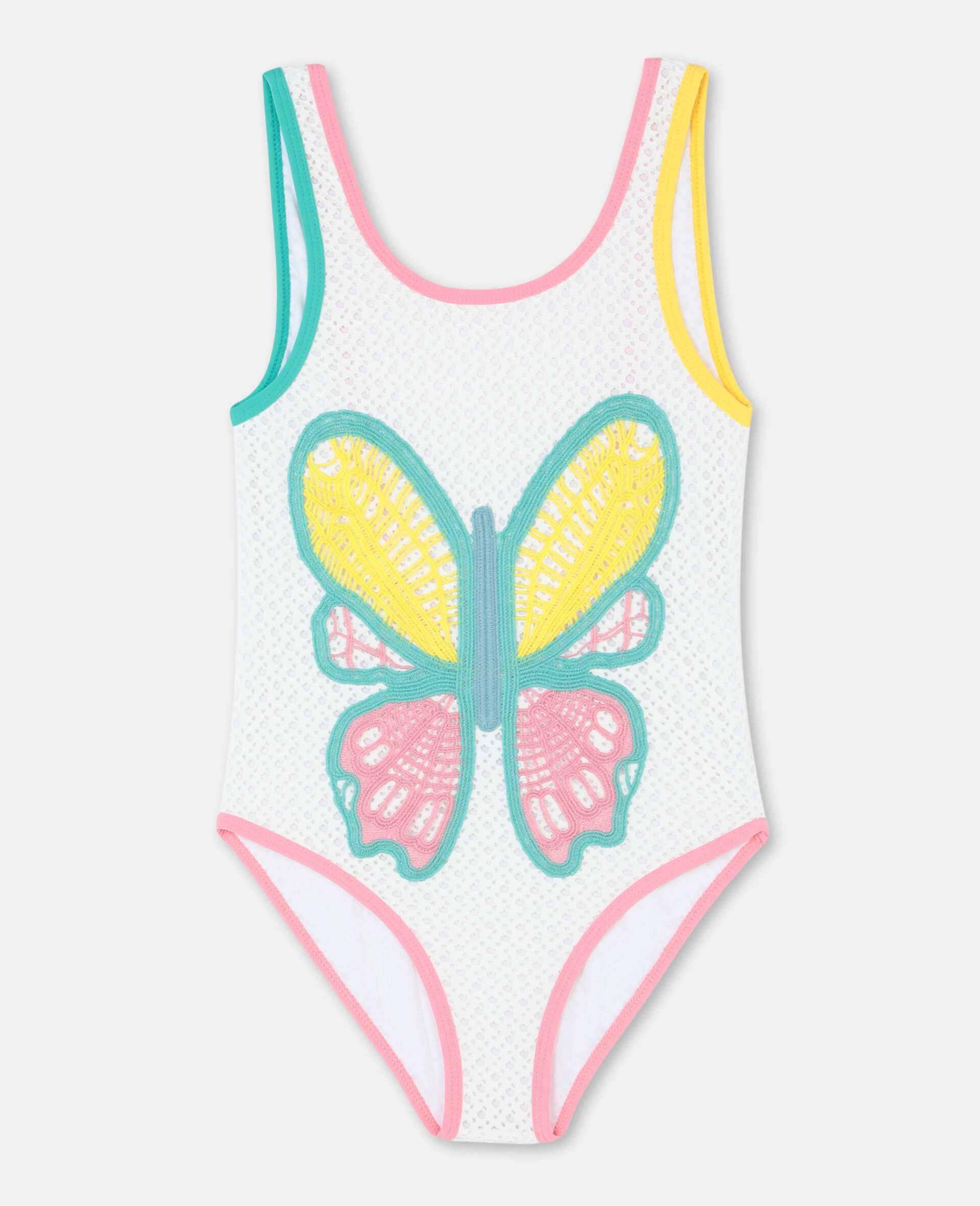 Butterfly Crochet Swimsuit-White-large