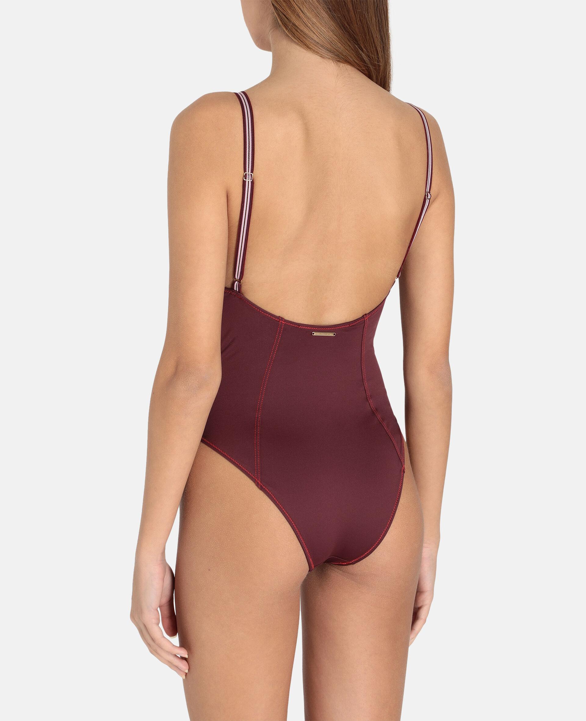 Gepolsterter Badeanzug mit Logoband-Rot-large image number 2
