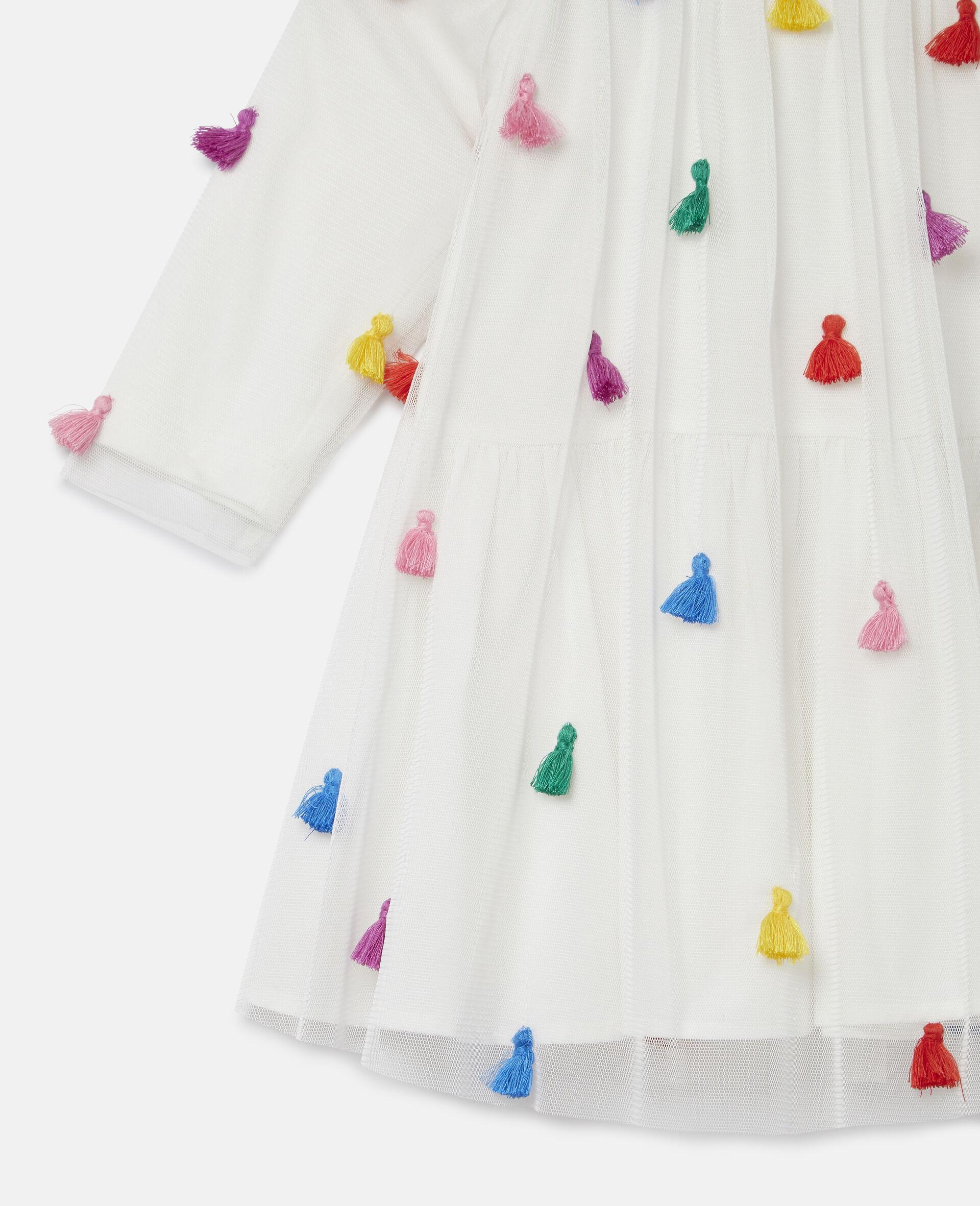 Tassels Tulle Dress-White-large image number 1