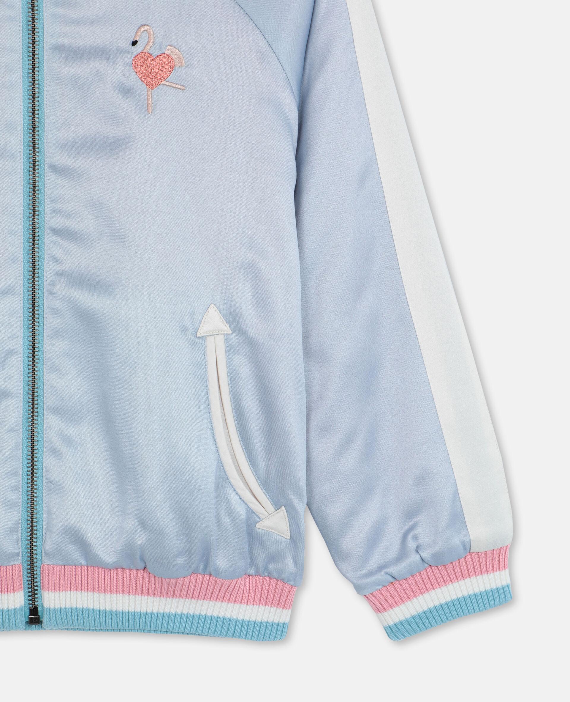 Embroidered Flamingo Satin Bomber -Blue-large image number 1