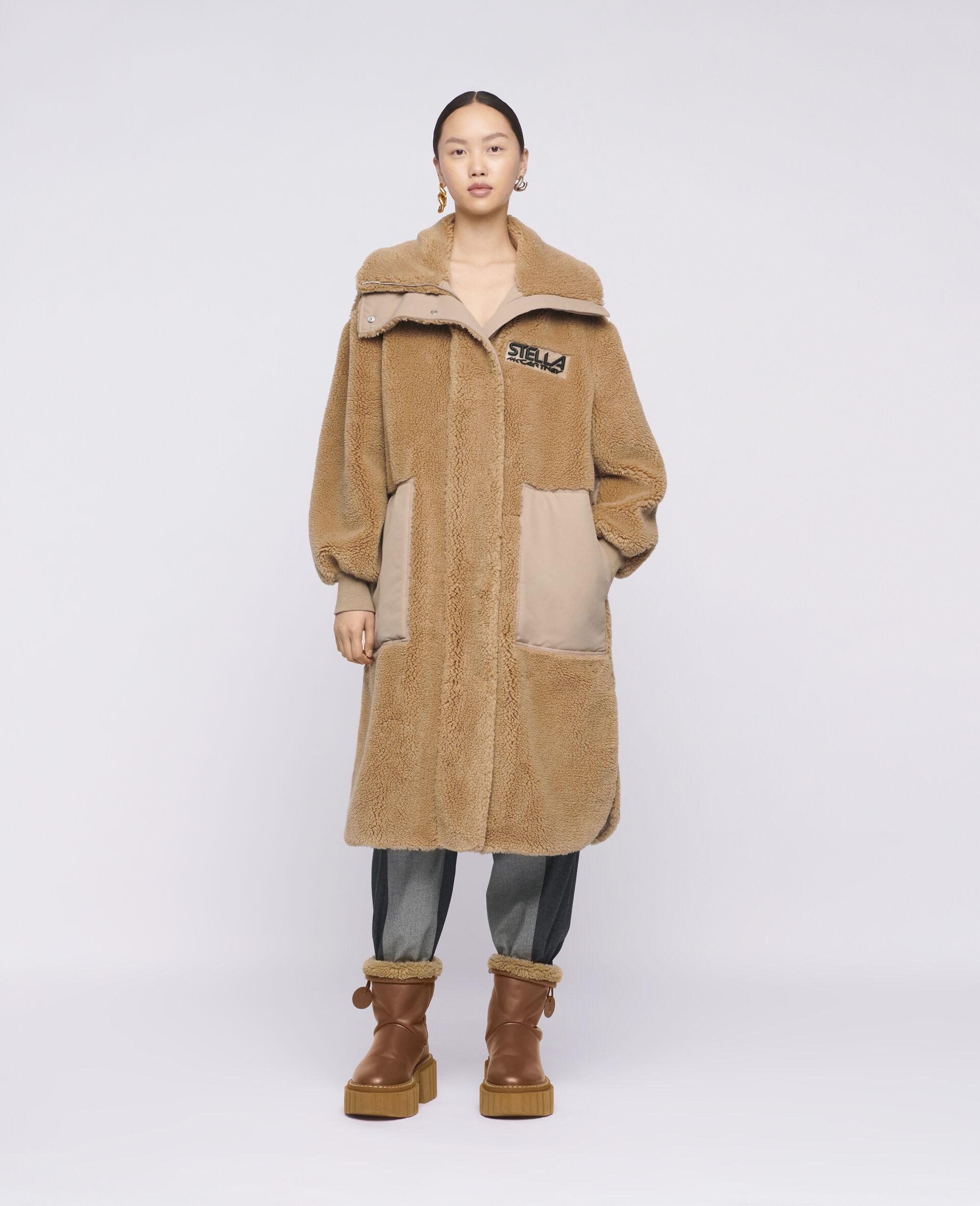 Luna Teddy Mat Coat-Brown-large image number 1