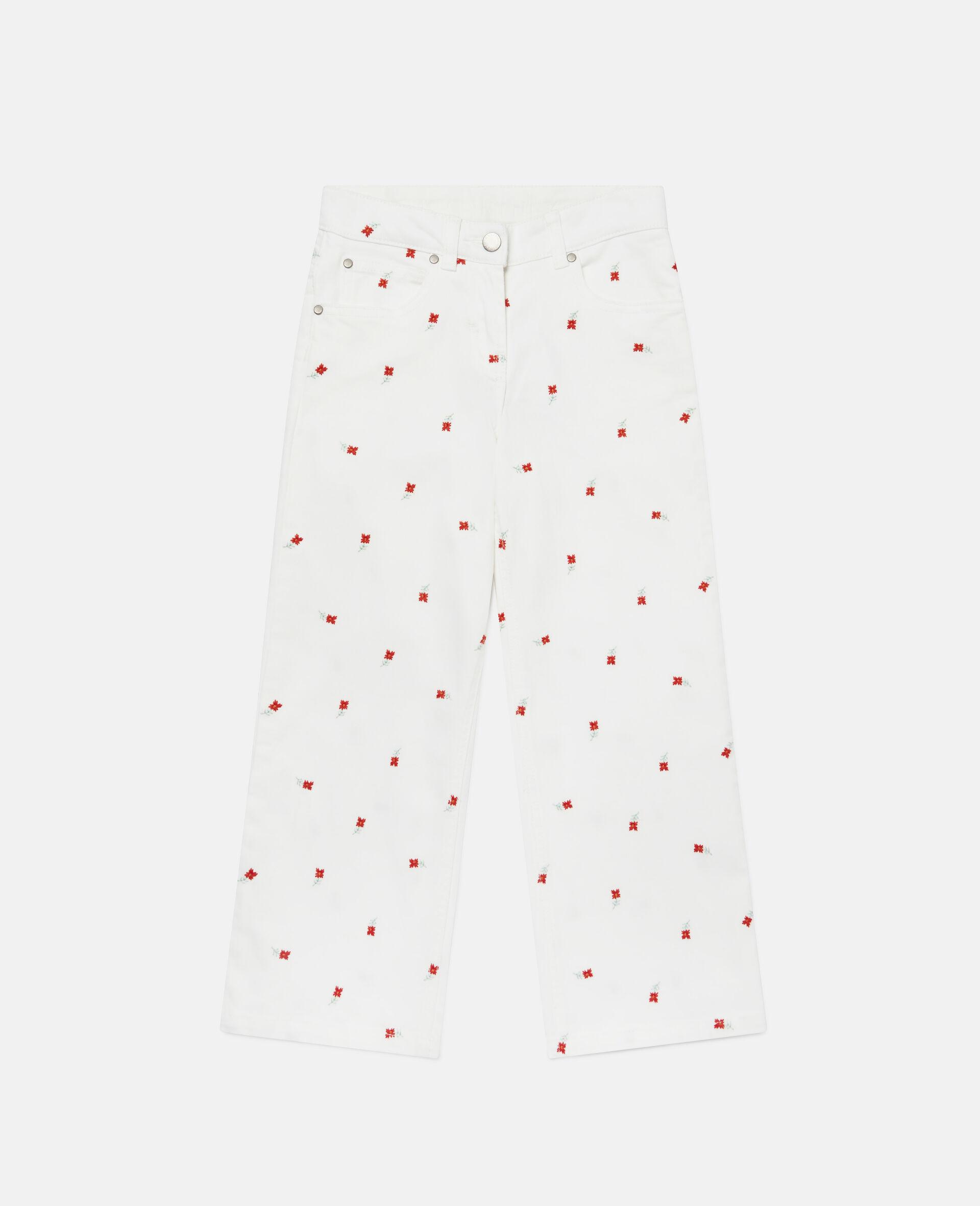 Jeans in Denim con Fiori Ricamati-Bianco-large image number 0