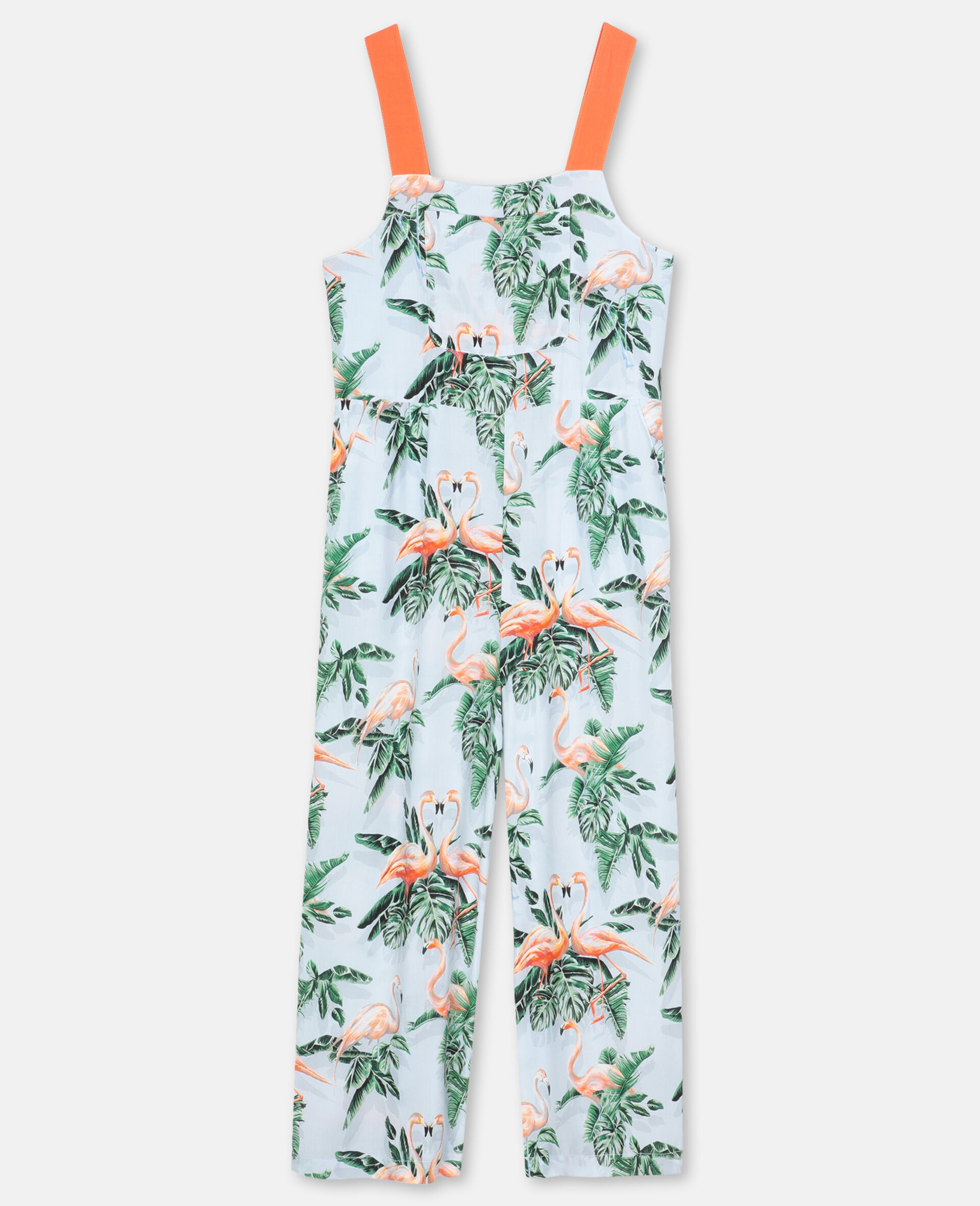 Painty Flamingo Viscose Jumpsuit-Green-large image number 0