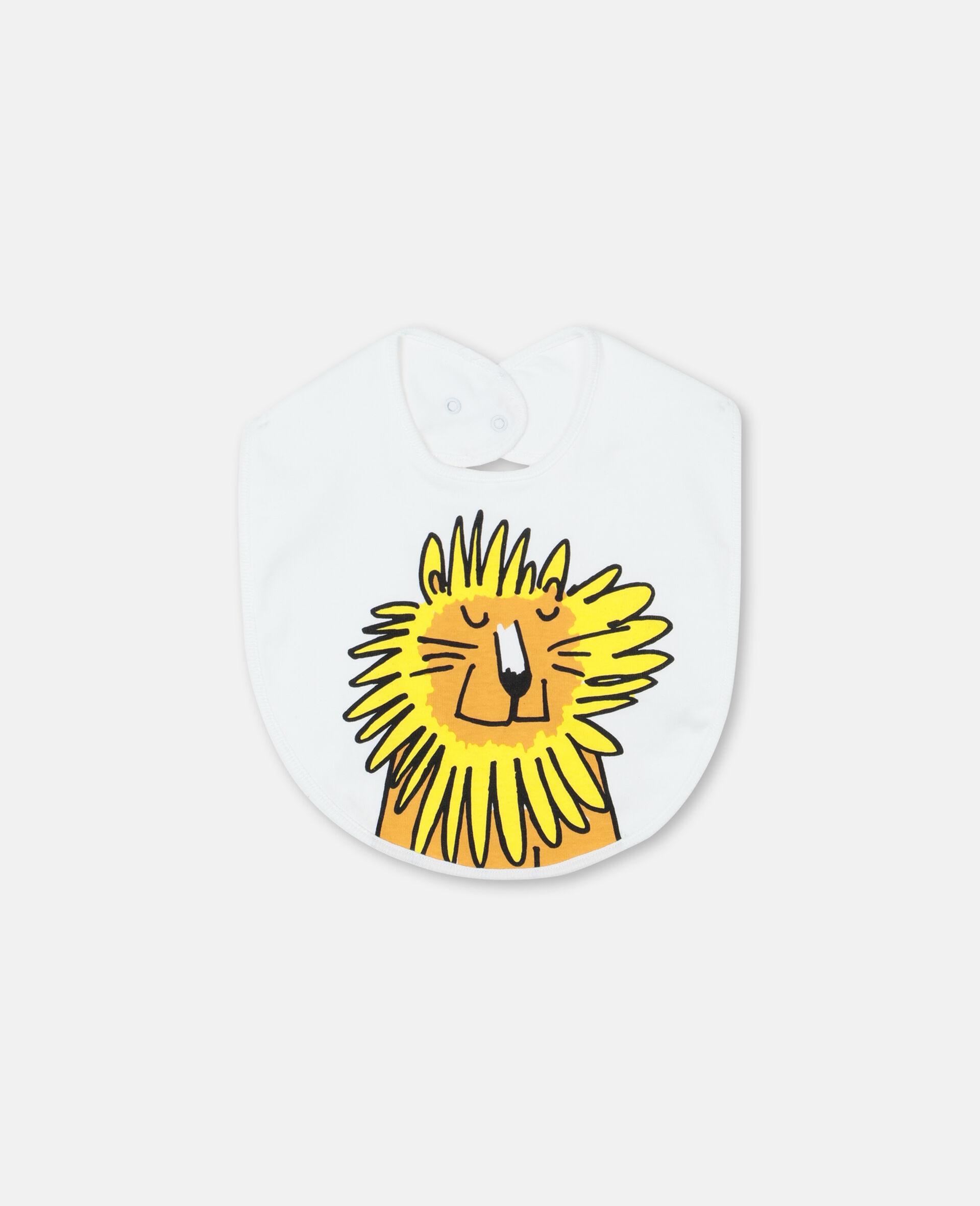 Lion 棉质婴儿连体服与围兜套装-白色-large image number 3
