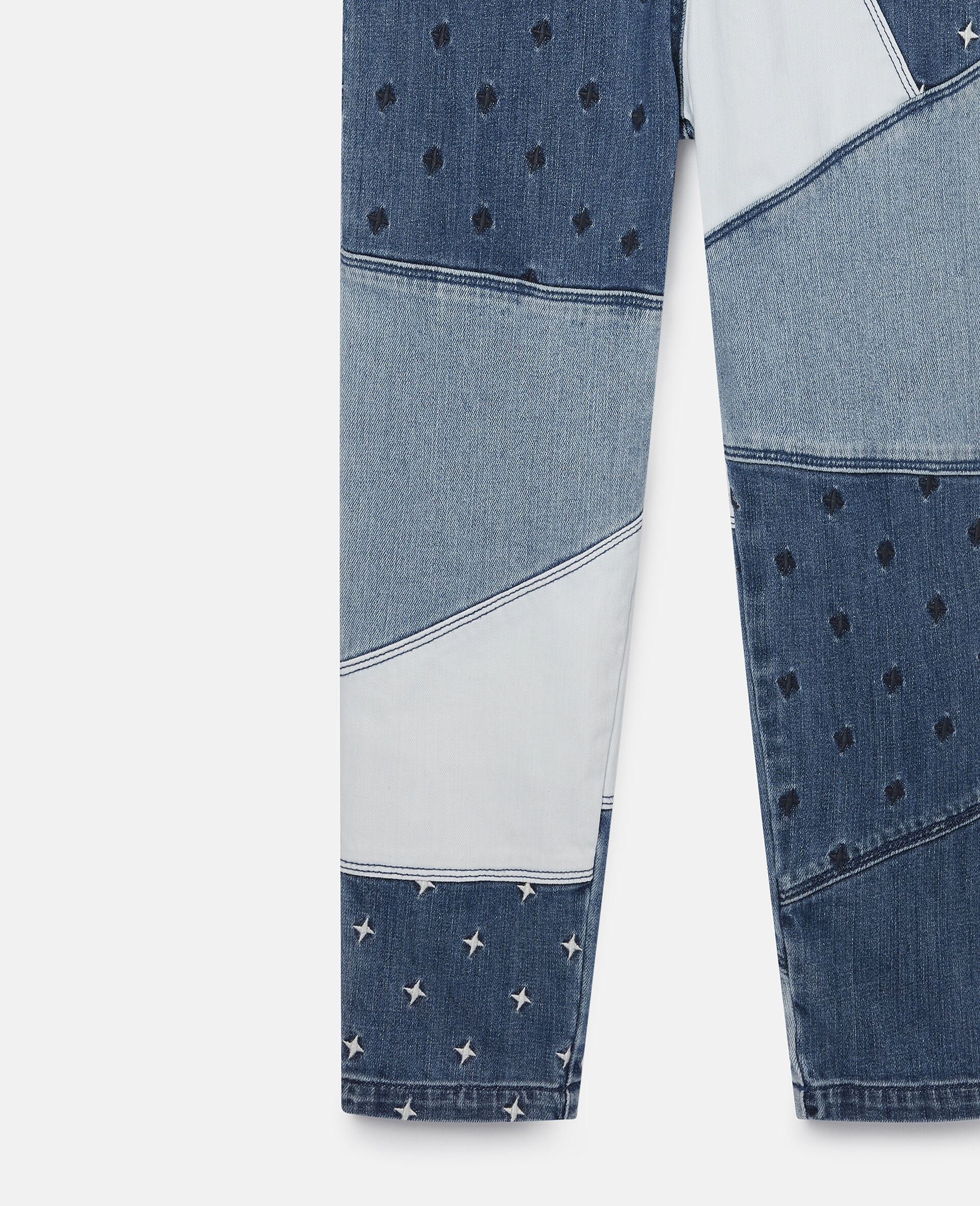 Embroidered Stars Denim Patchwork Dungarees -Blue-large image number 1