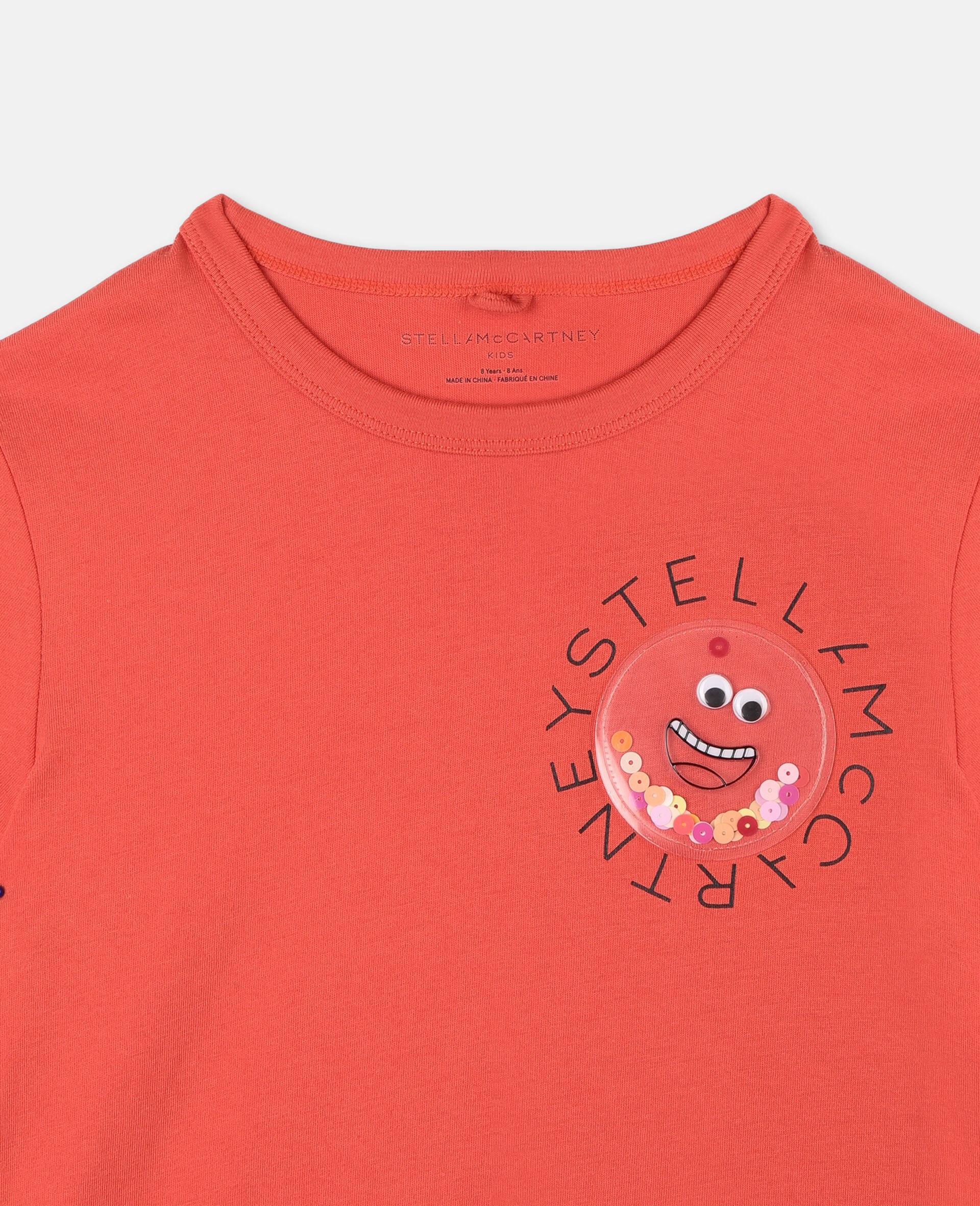 Baumwoll-T-Shirt mit Logo-Rot-large image number 1