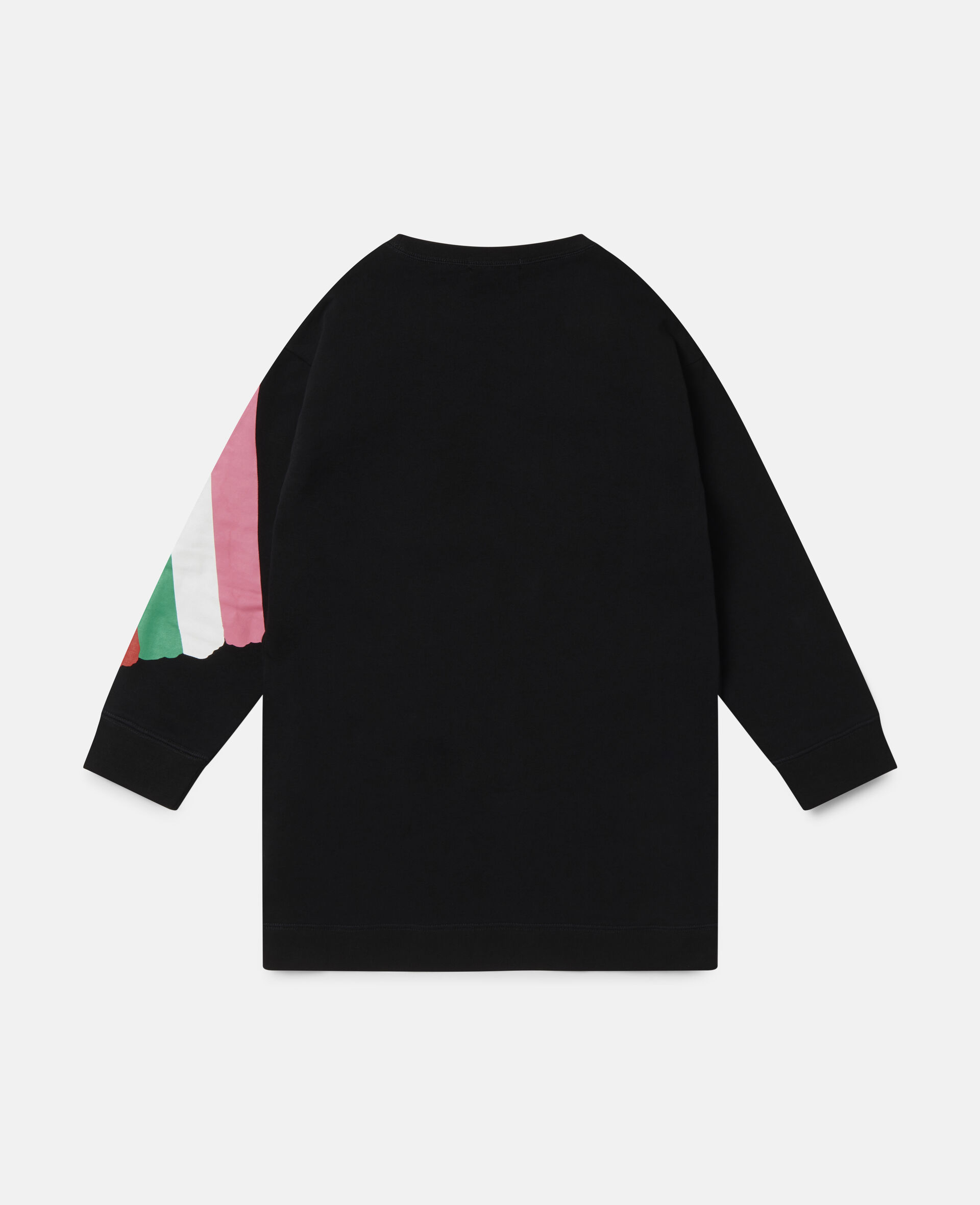 Kleid aus Baumwollfleece mit Pinsel-Print-Schwarz-large image number 3