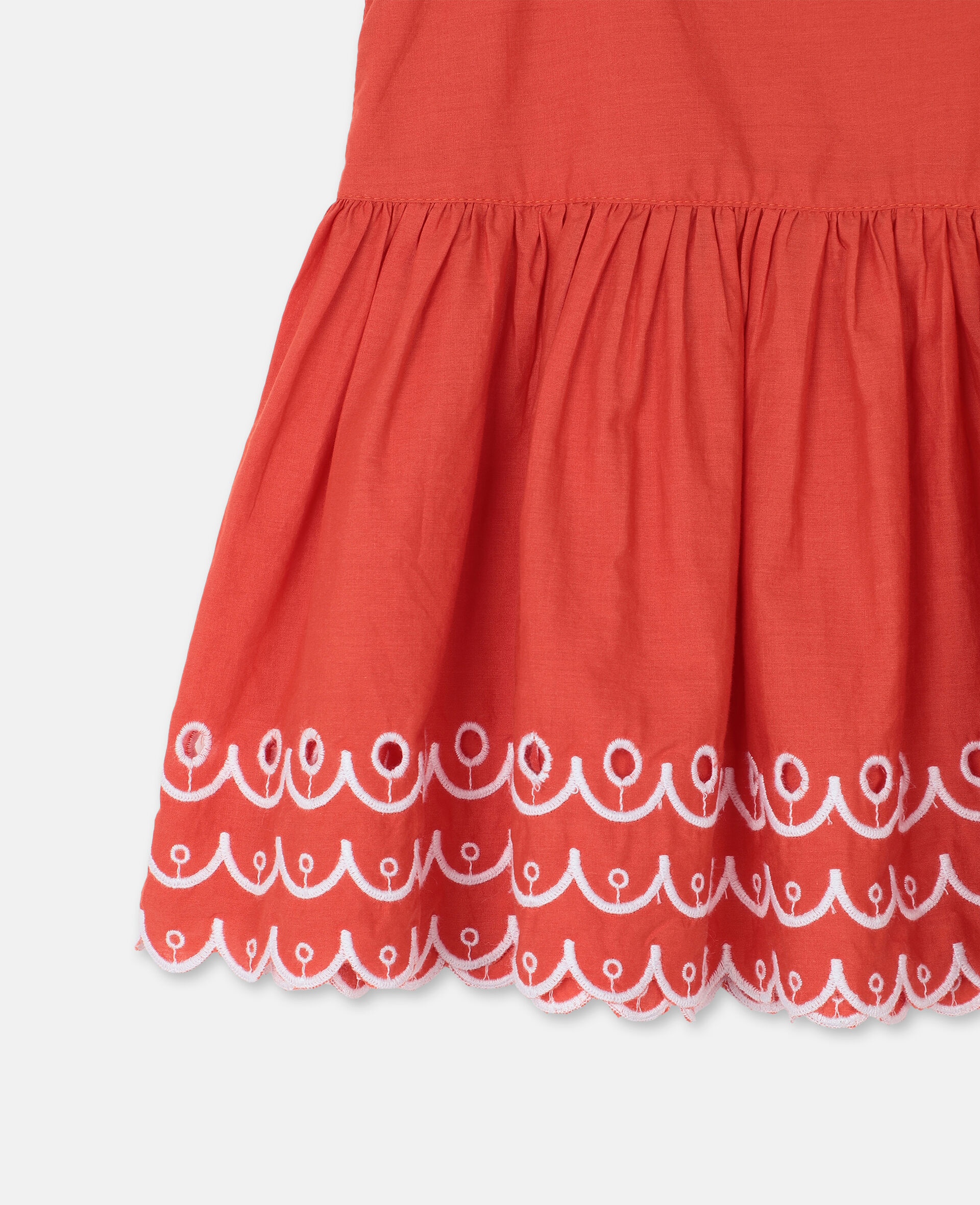 Scalloped Cotton Dress-Red-large image number 2