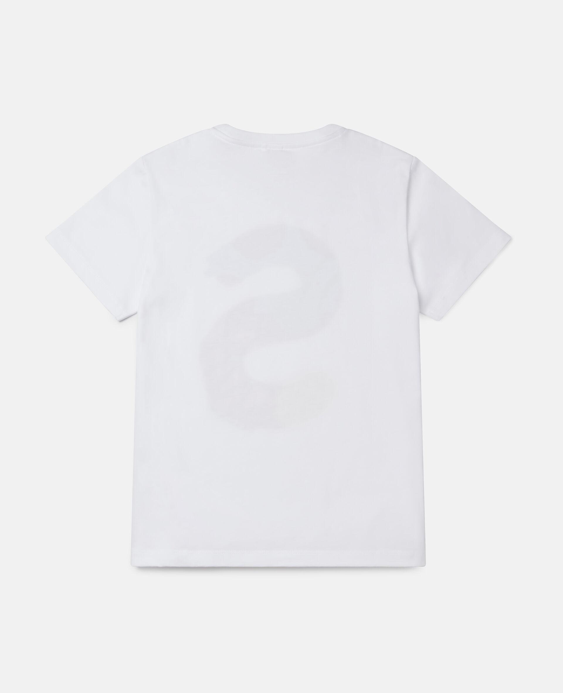 T-Shirt aus Baumwolle mit Malerei-Logo -Weiß-large image number 3
