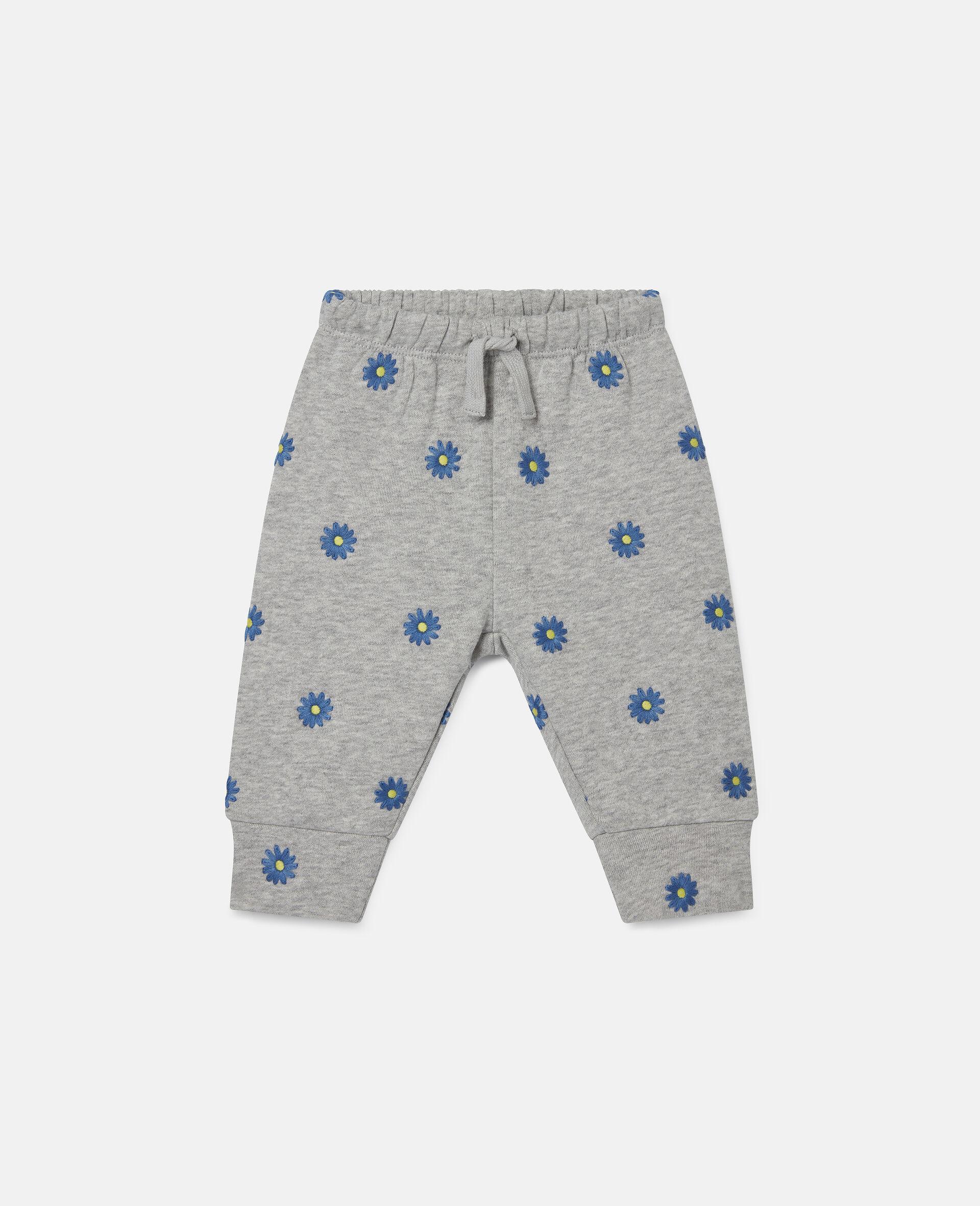 Pantaloni in Felpa di Cotone con Margherite Ricamate-Grigio-large image number 0