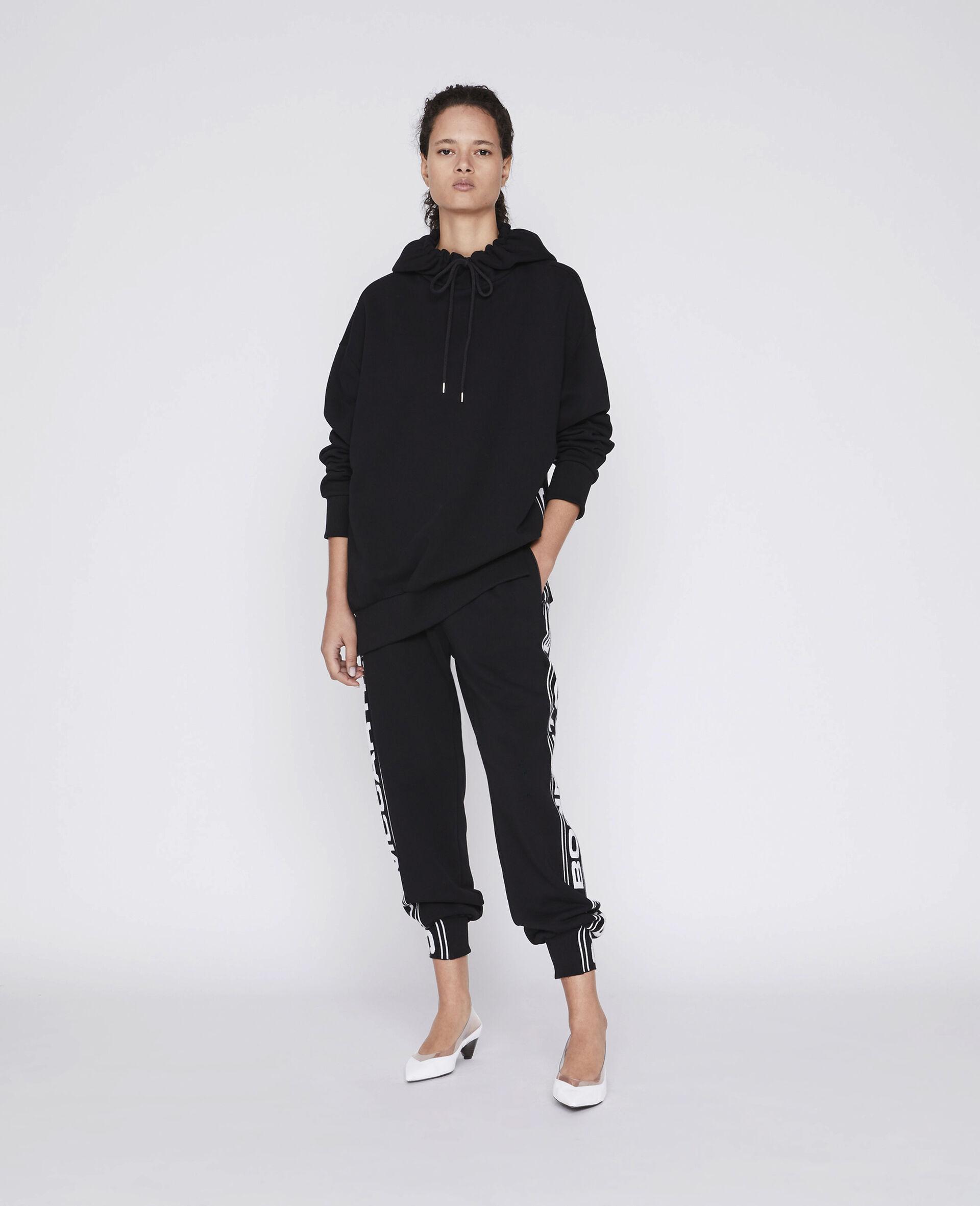 Sweat-shirt à capuche 23 OBS en maille-Noir-large image number 1