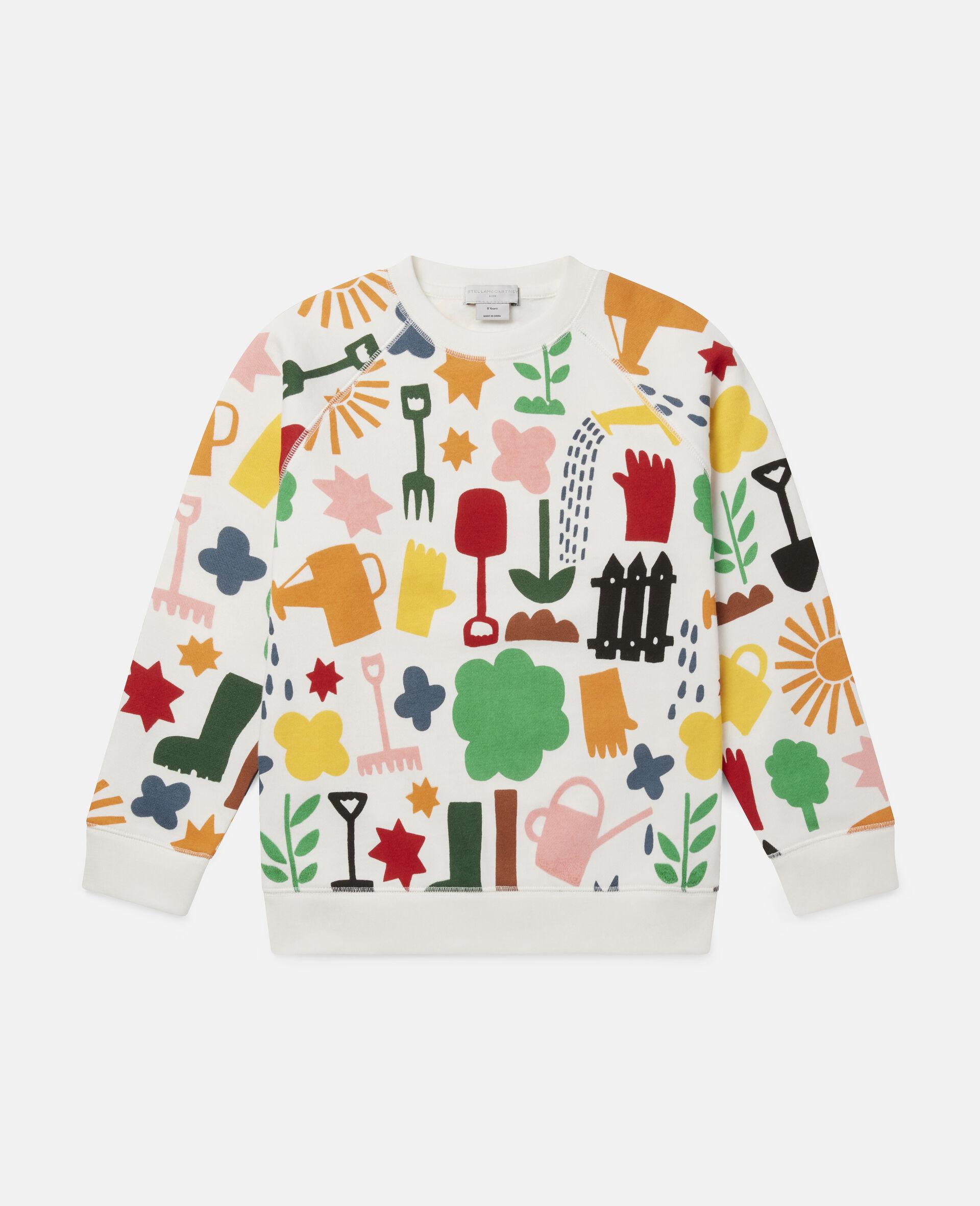 Sweat-shirt en polaire motifs jardin-Blanc-large image number 0