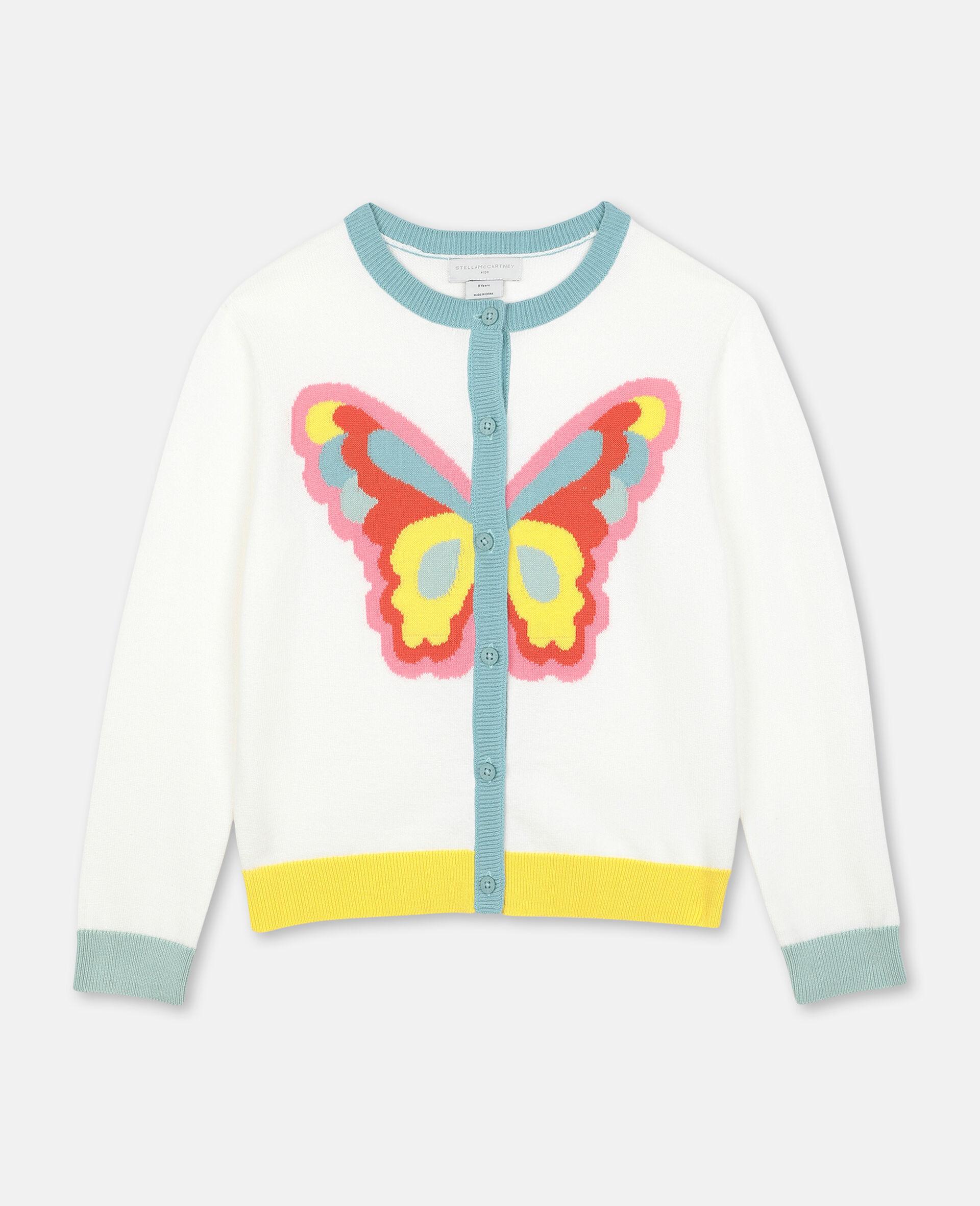 Strickjacke mit Schmetterling-Intarsie -Weiß-large image number 0