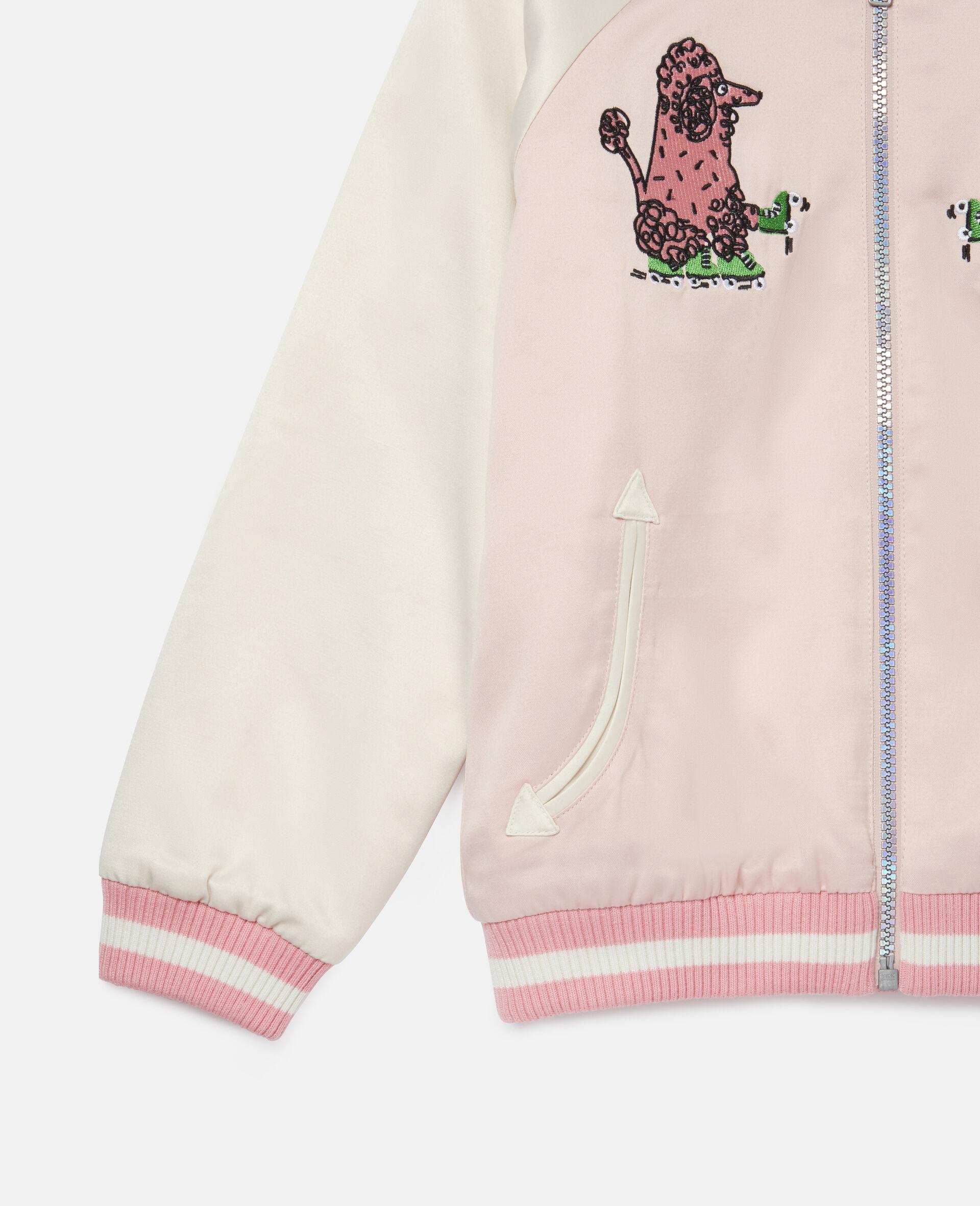 Embroidered Poodles Satin Jacket-Pink-large image number 2