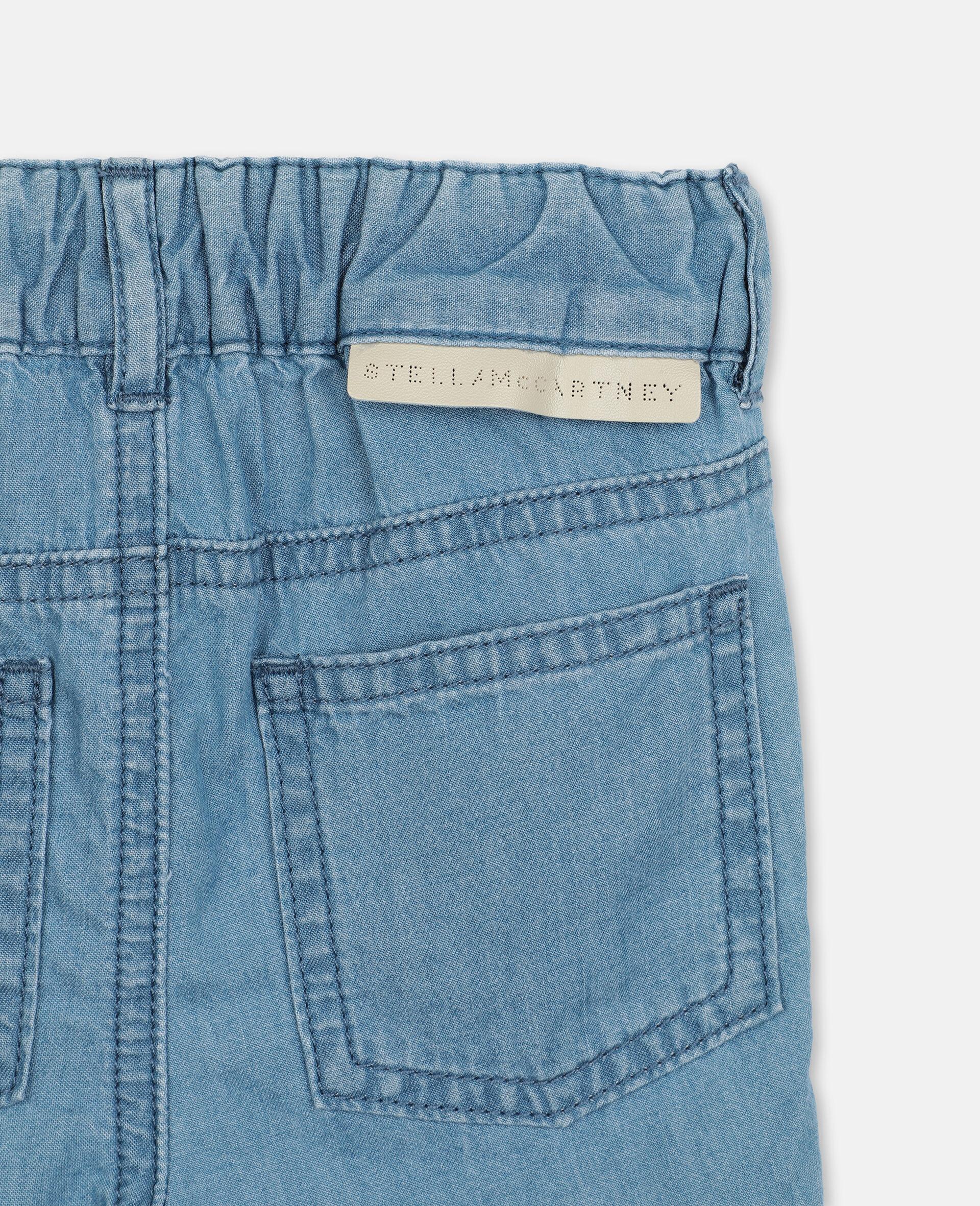 Short en chambray de coton à motif chats brodés -Bleu-large image number 2