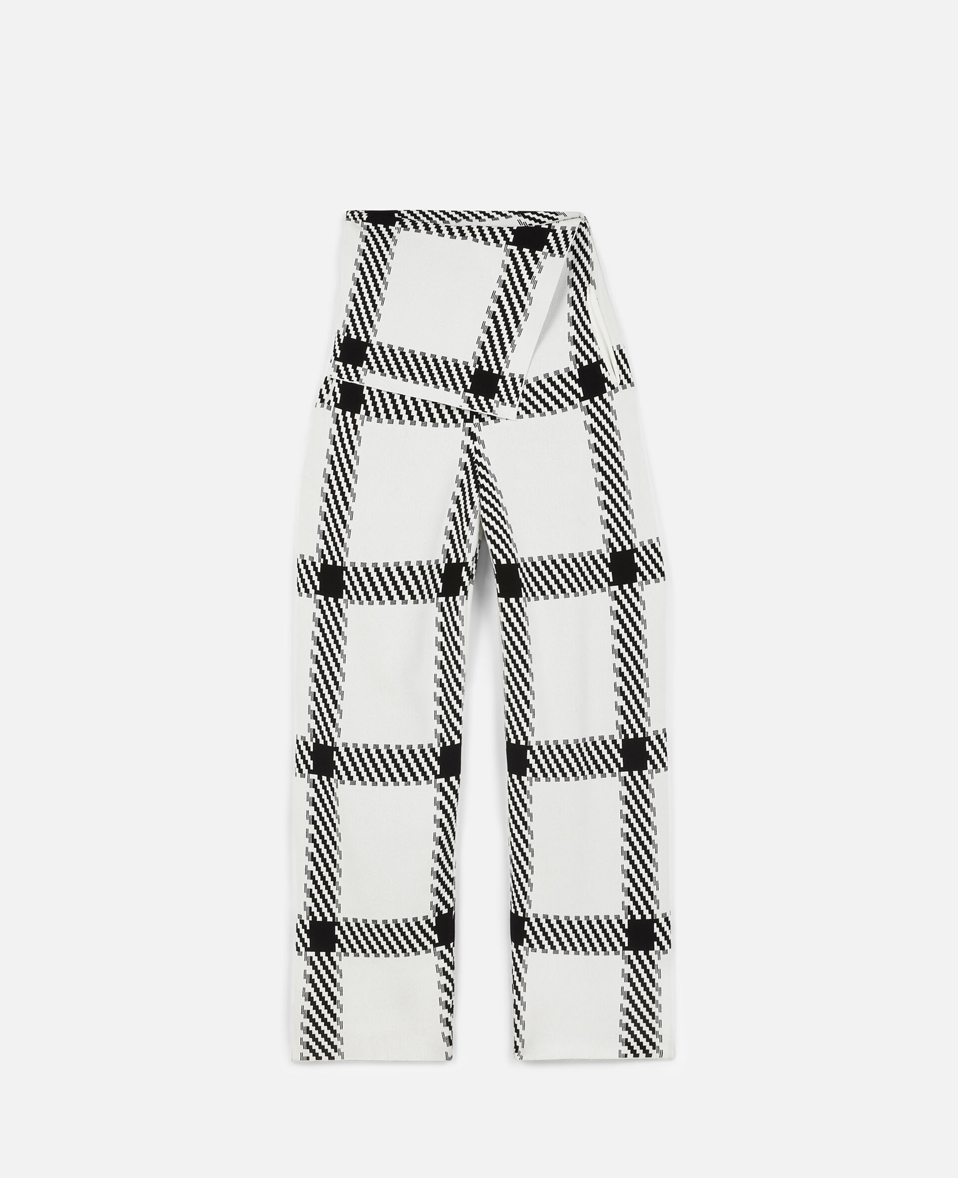 Knit CheckTrousers-White-large image number 0