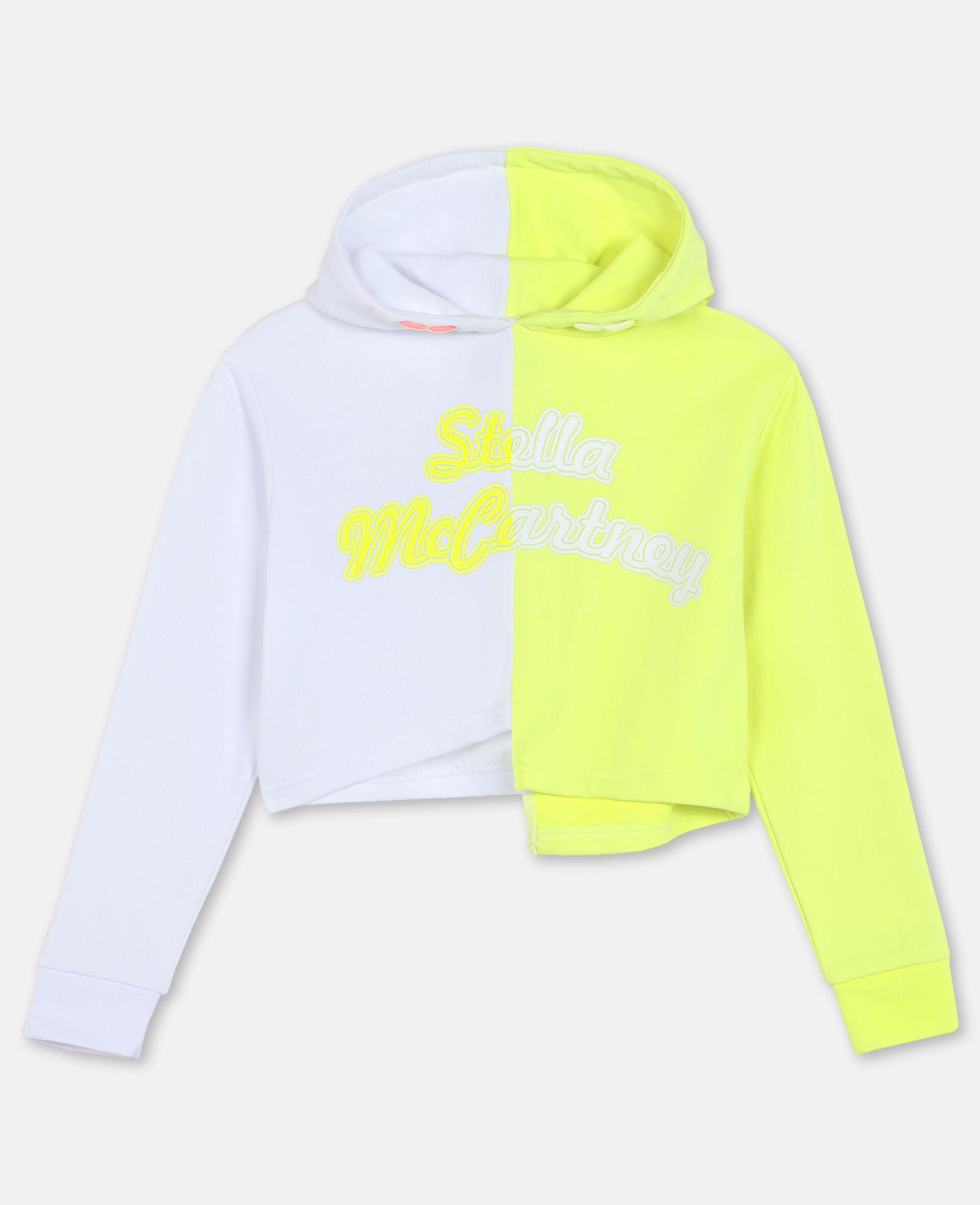 Sweat-shirt à capuche de sport en molleton de coton avec logo-Blanc-large image number 0