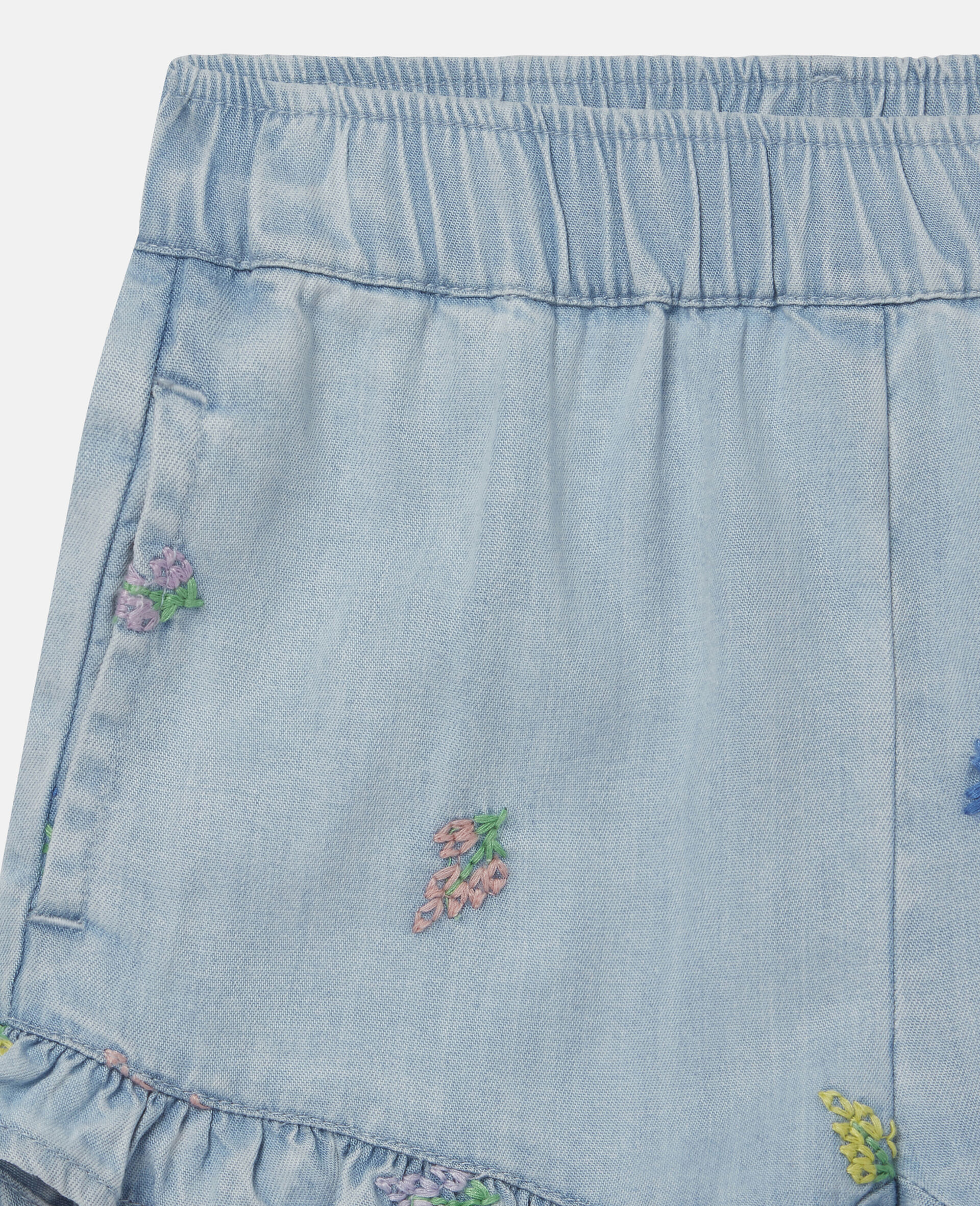 Embroidered Flowers Denim Shorts-Blue-large image number 1