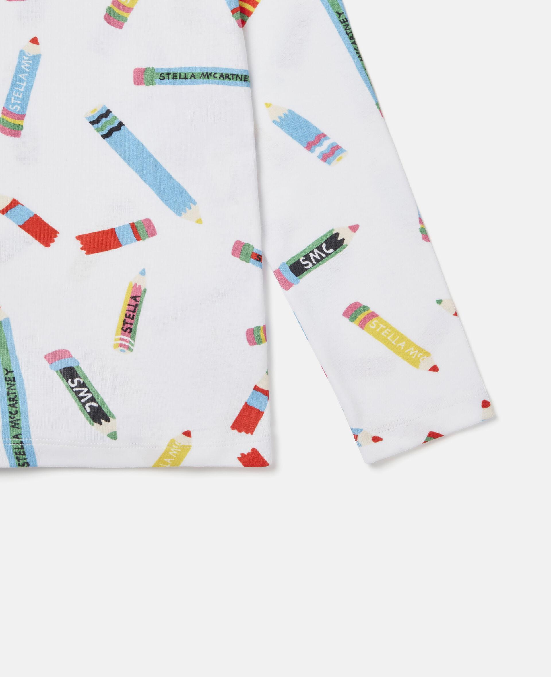 T-Shirt aus Baumwolle mit Stifte-Print -Weiß-large image number 2