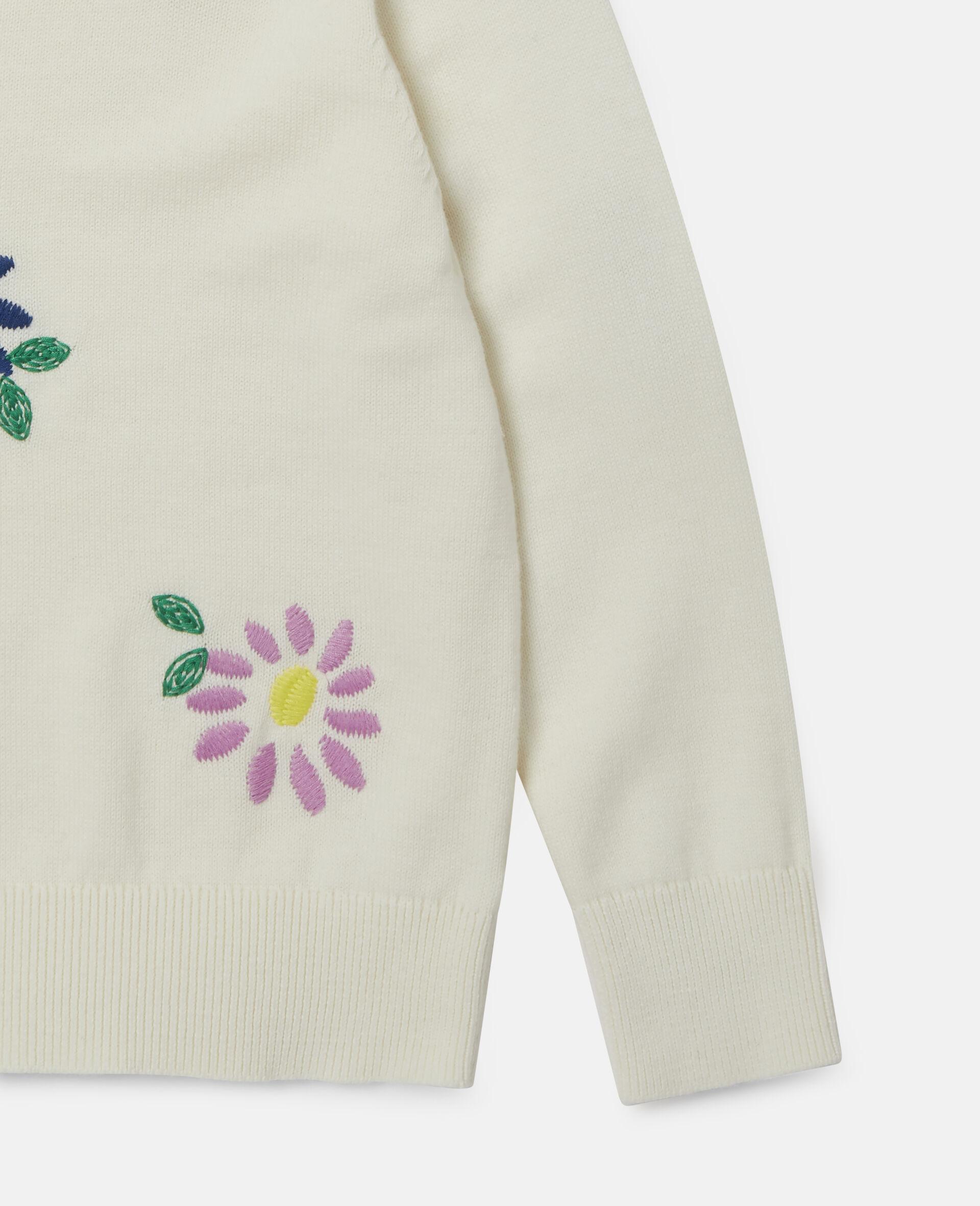 Pull oversize à fleurs brodées-Blanc-large image number 2