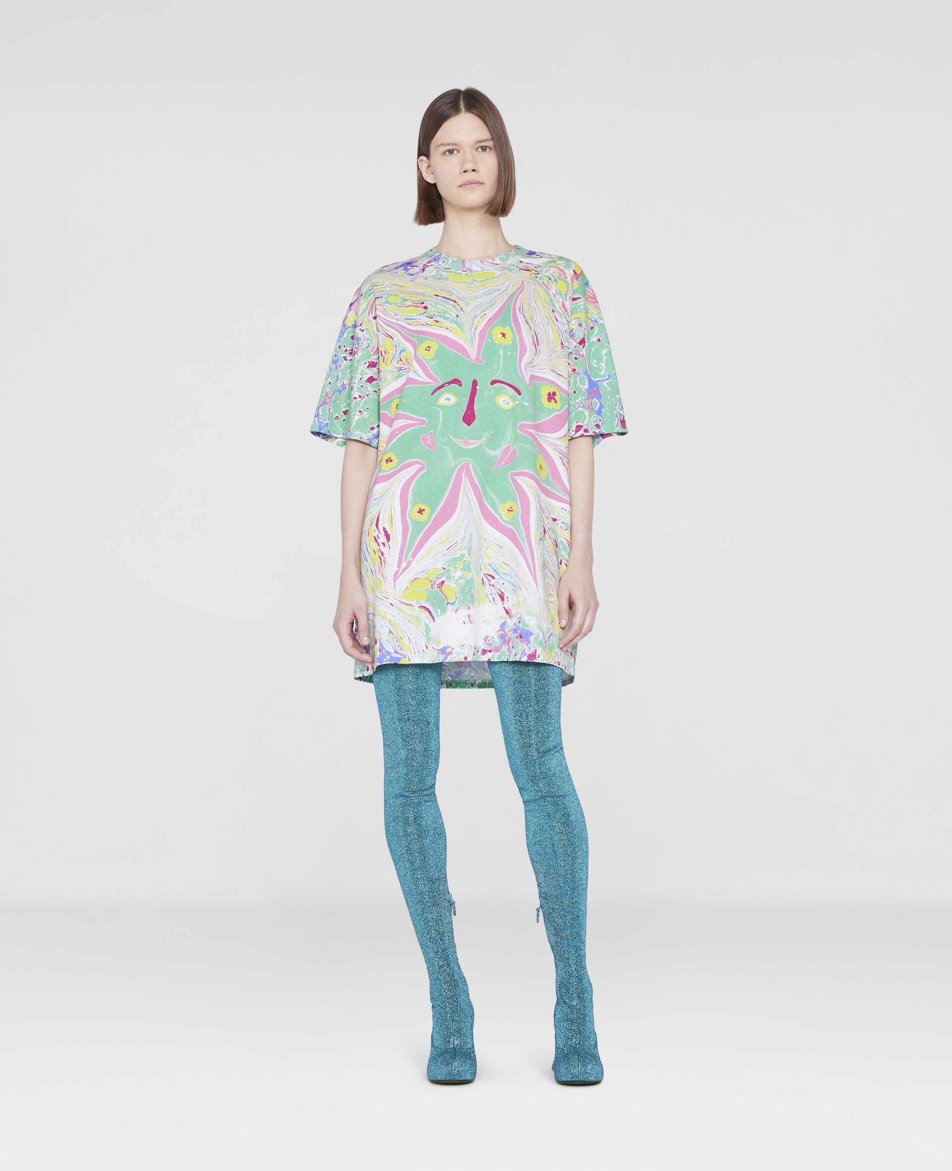 Myfawnwy Printed  T-Shirt Dress-Multicolour-large image number 1