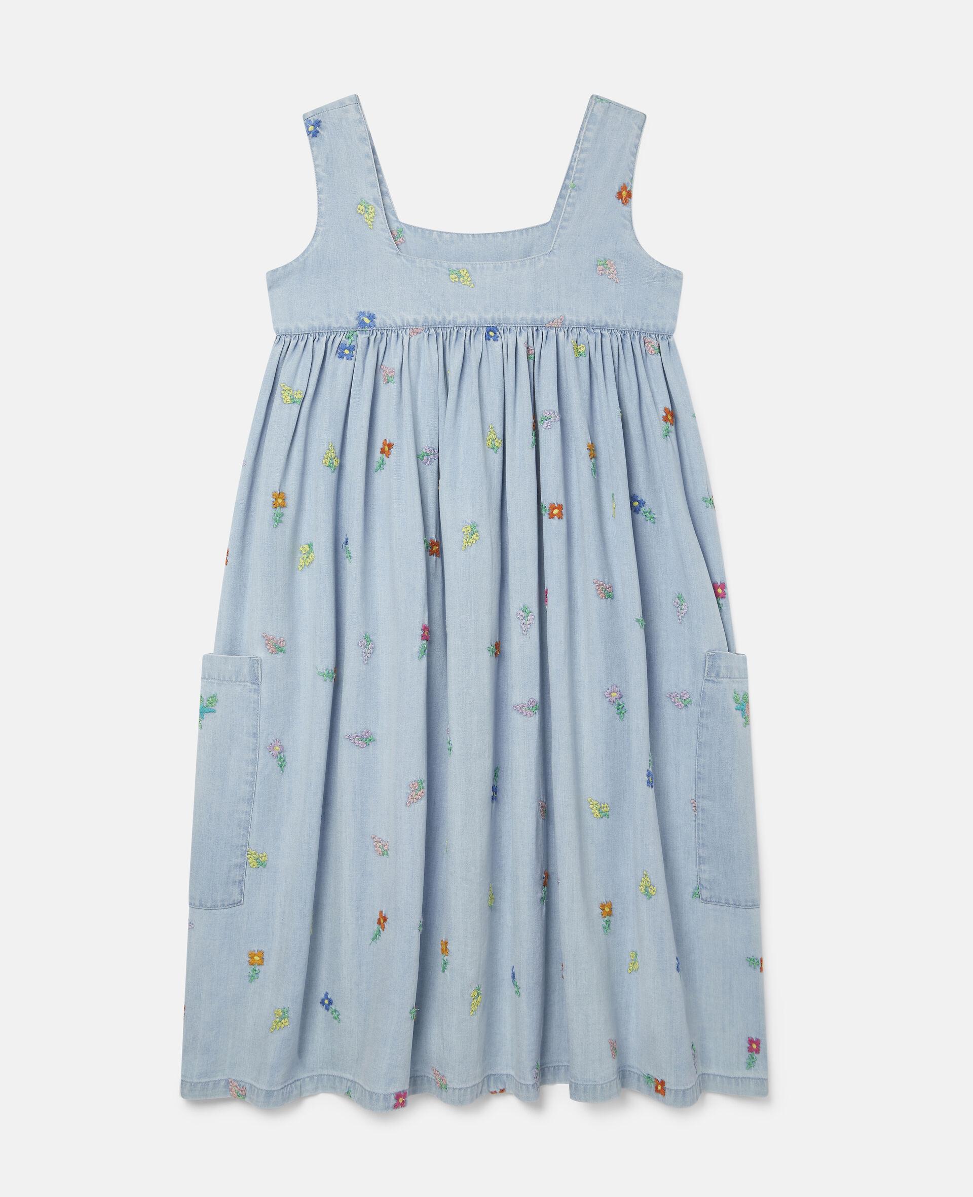 Embroidered Flowers Denim Dress-Blue-large image number 3