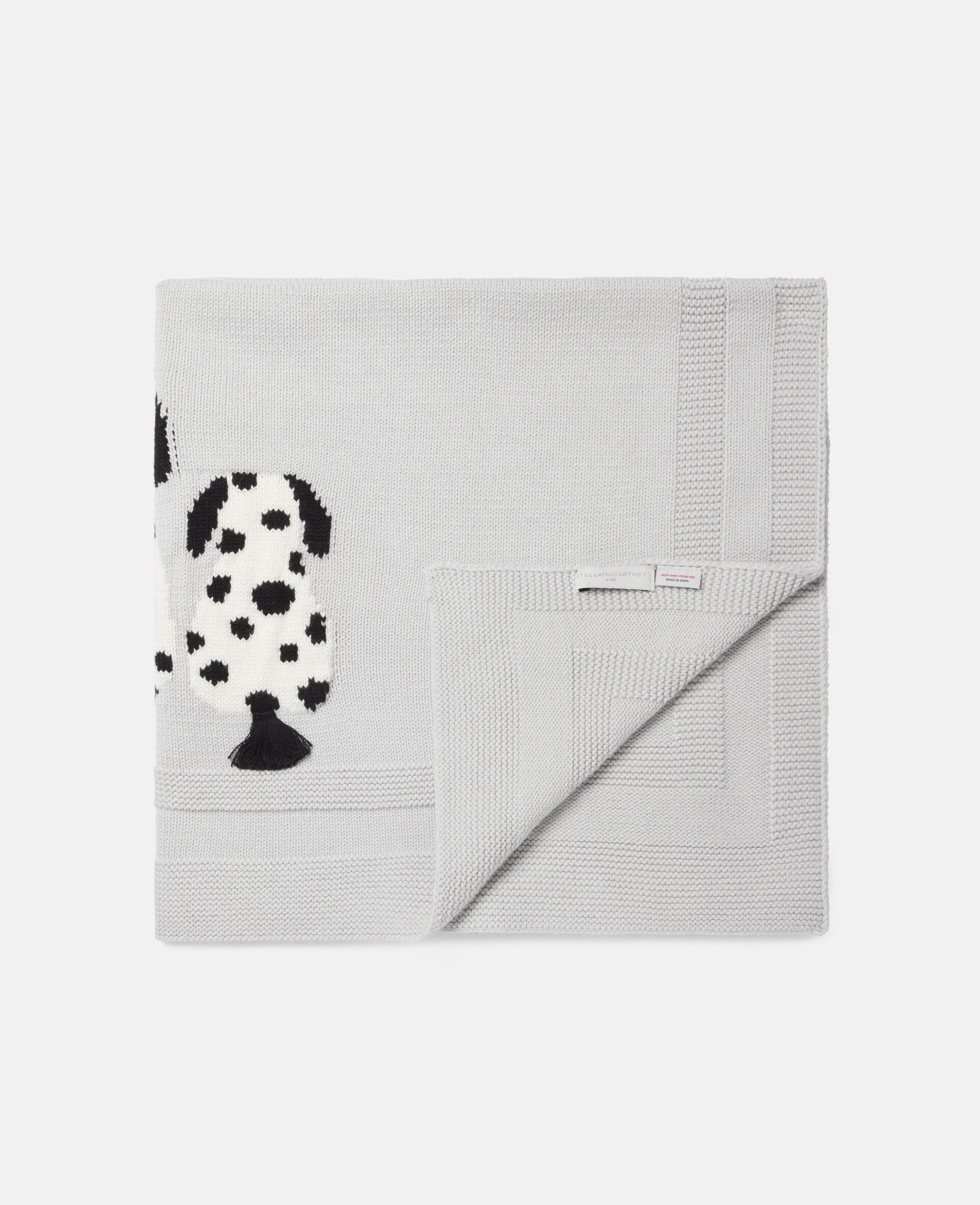 Dalmatian Knit Intarsia Blanket-Grey-large image number 1