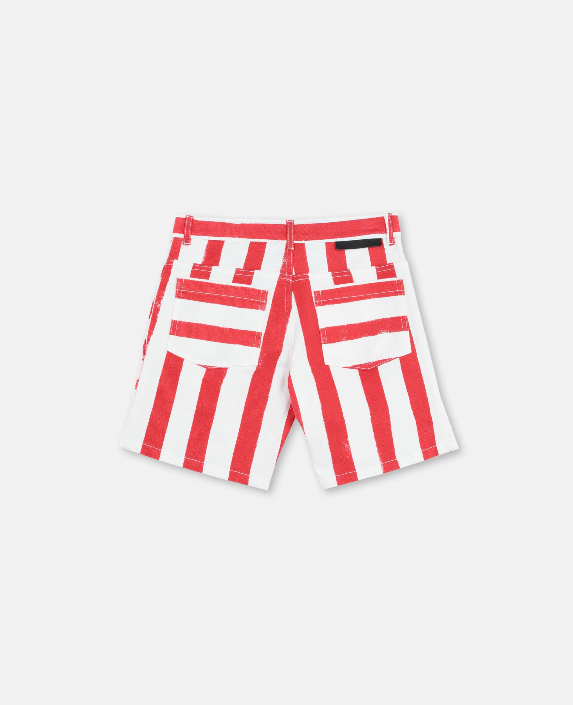 Striped Denim Shorts -Multicolour-large image number 3