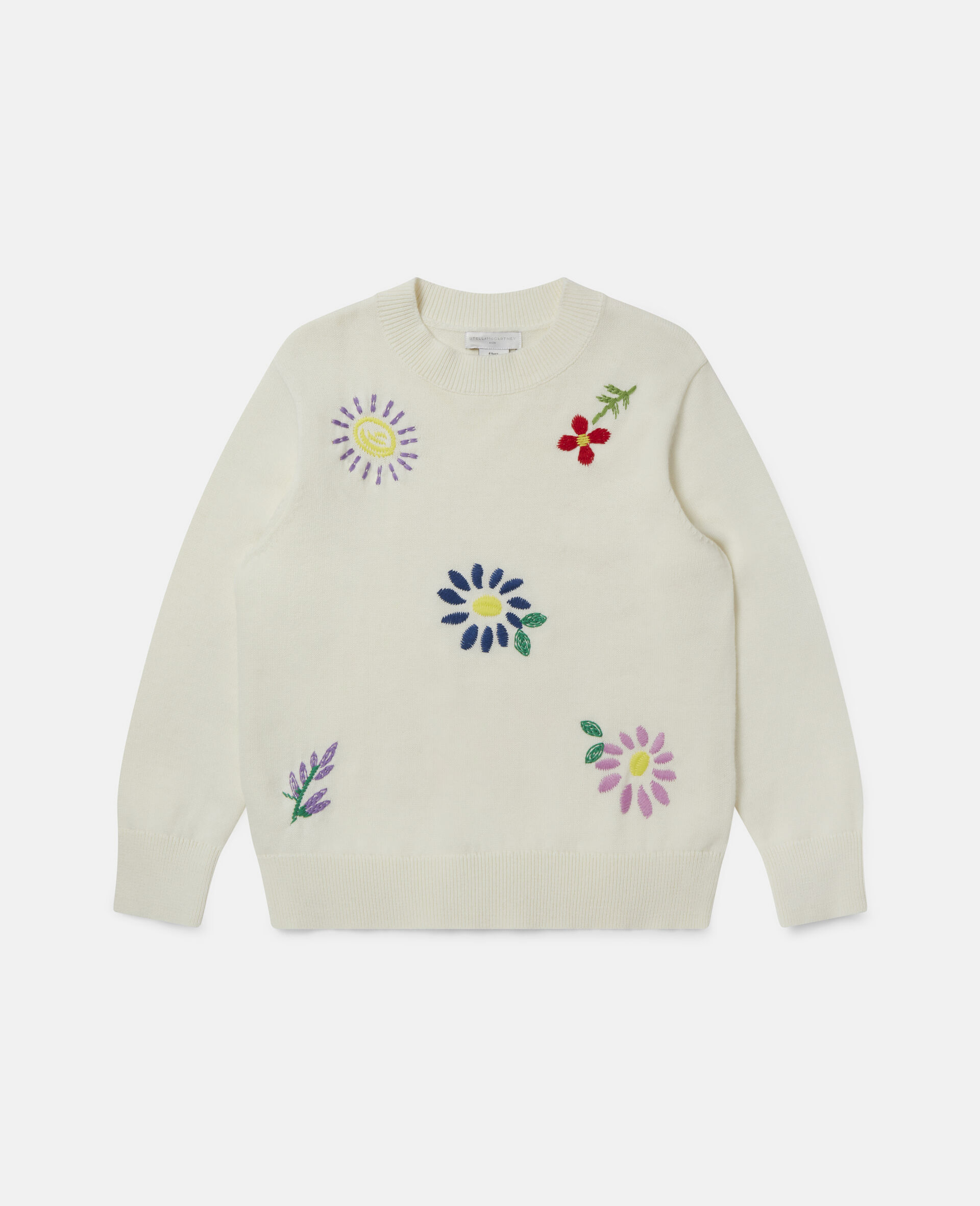 Embroidered Flowers Oversized Jumper-White-large image number 0