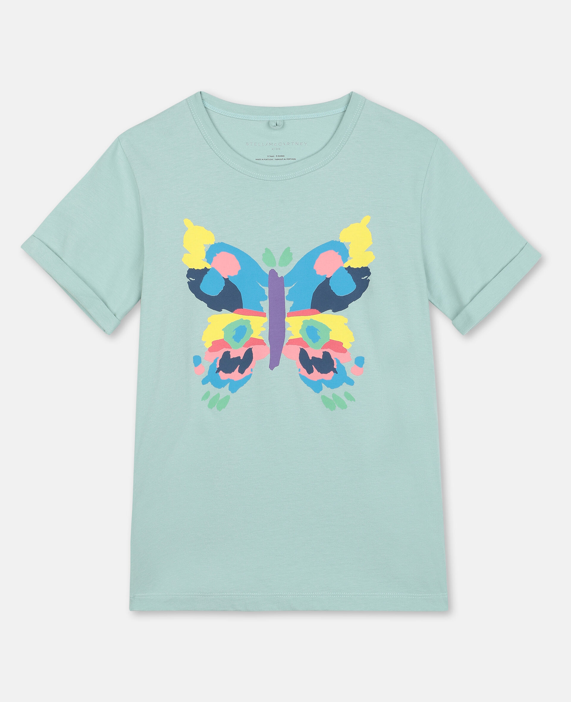 Baumwoll-T-Shirt mit Schmetterling-Print-Grün-large image number 0