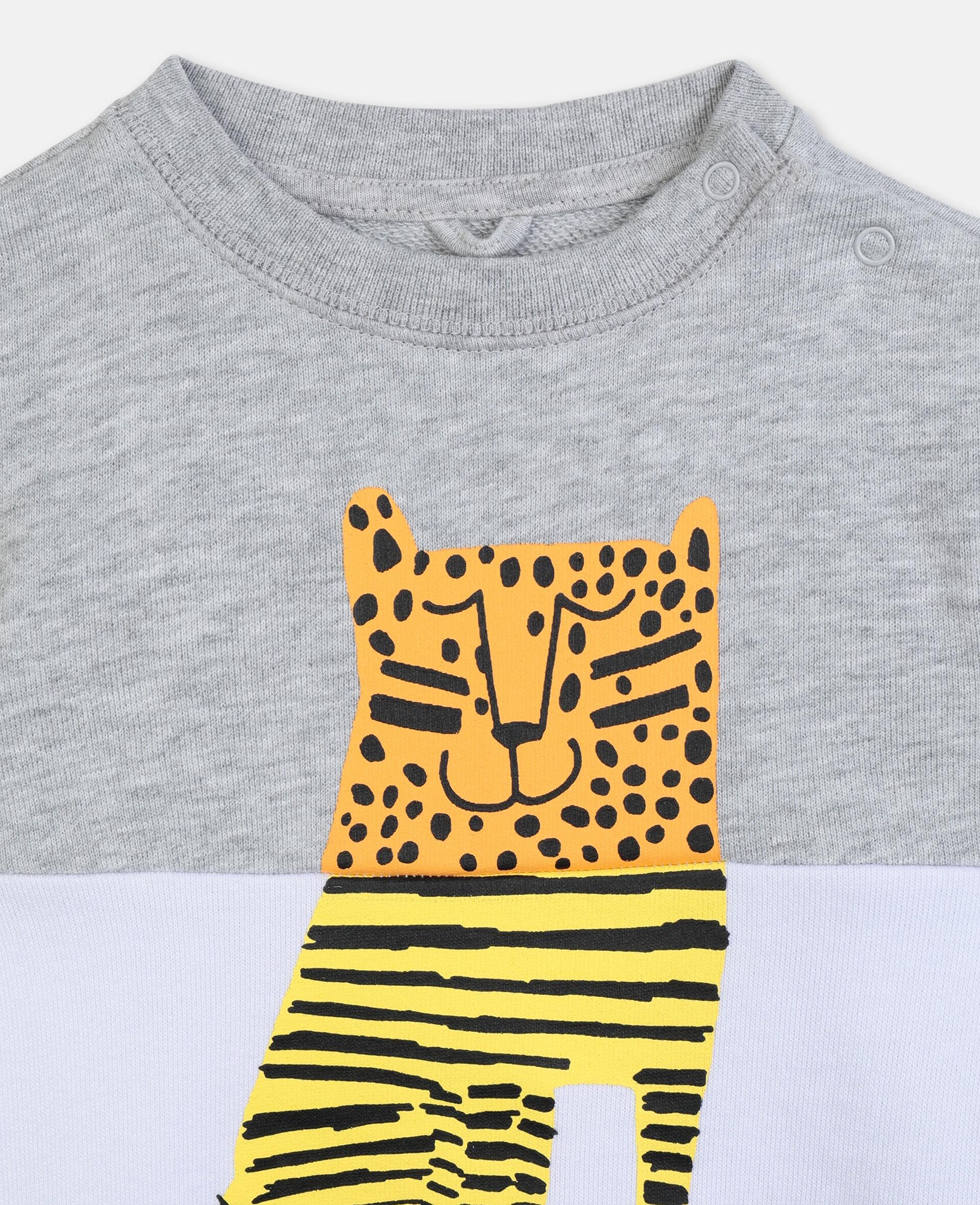 Sweat-shirt en coton à motif tigre-Gris-large image number 2