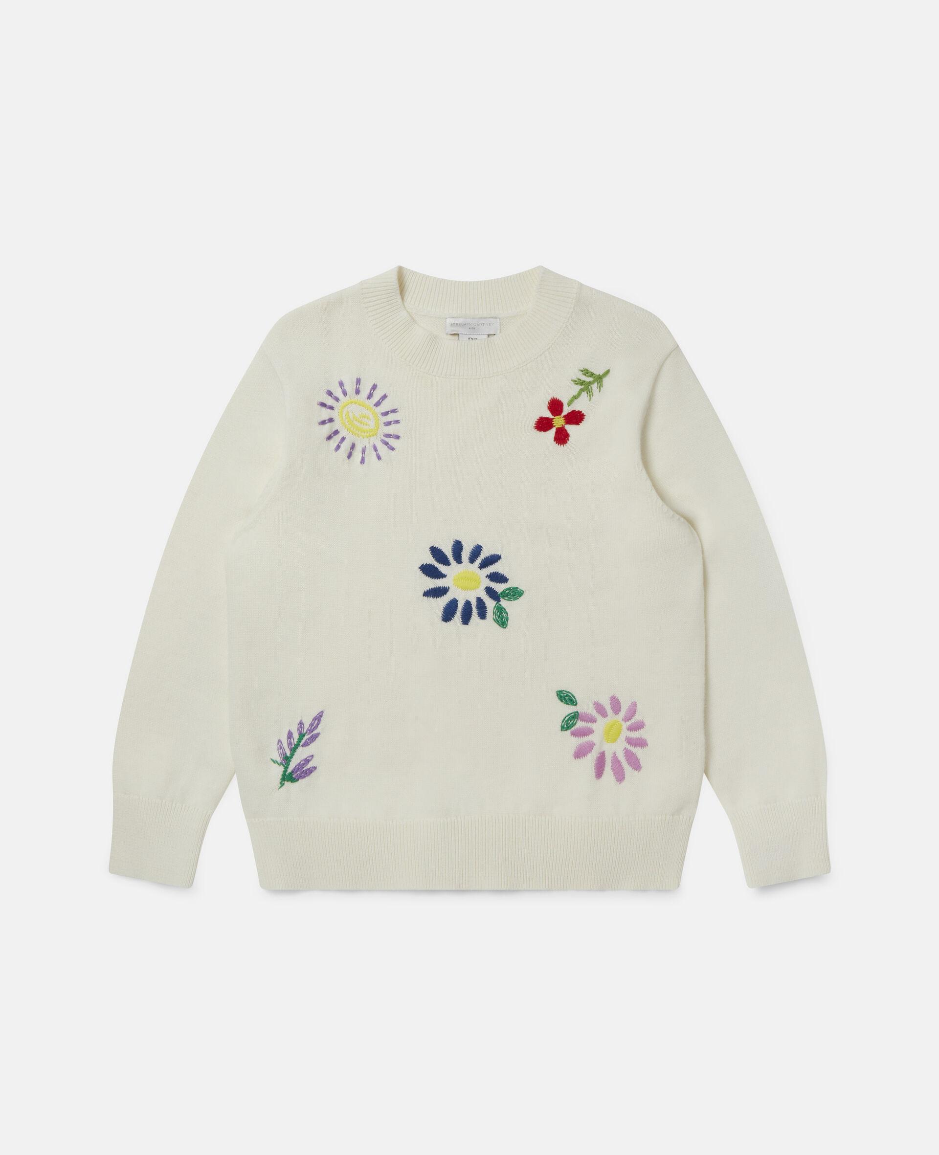 Pull oversize à fleurs brodées-Blanc-large image number 0