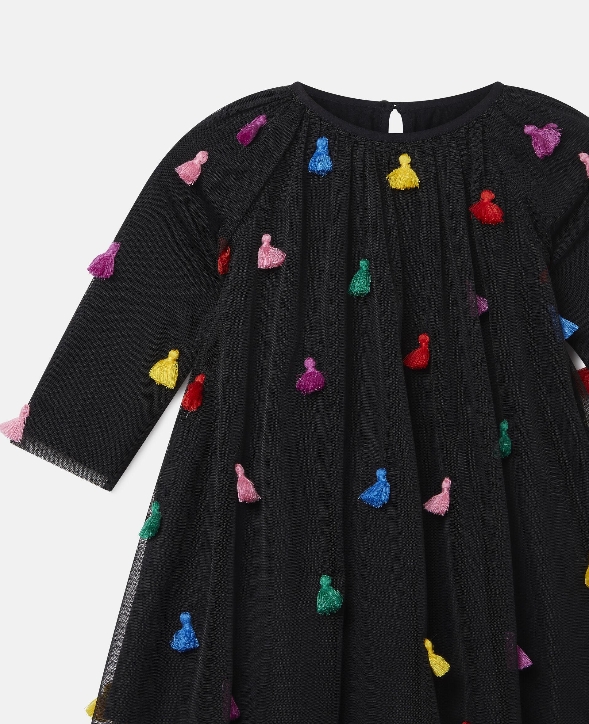 Tassels Tulle Dress-Black-large image number 2