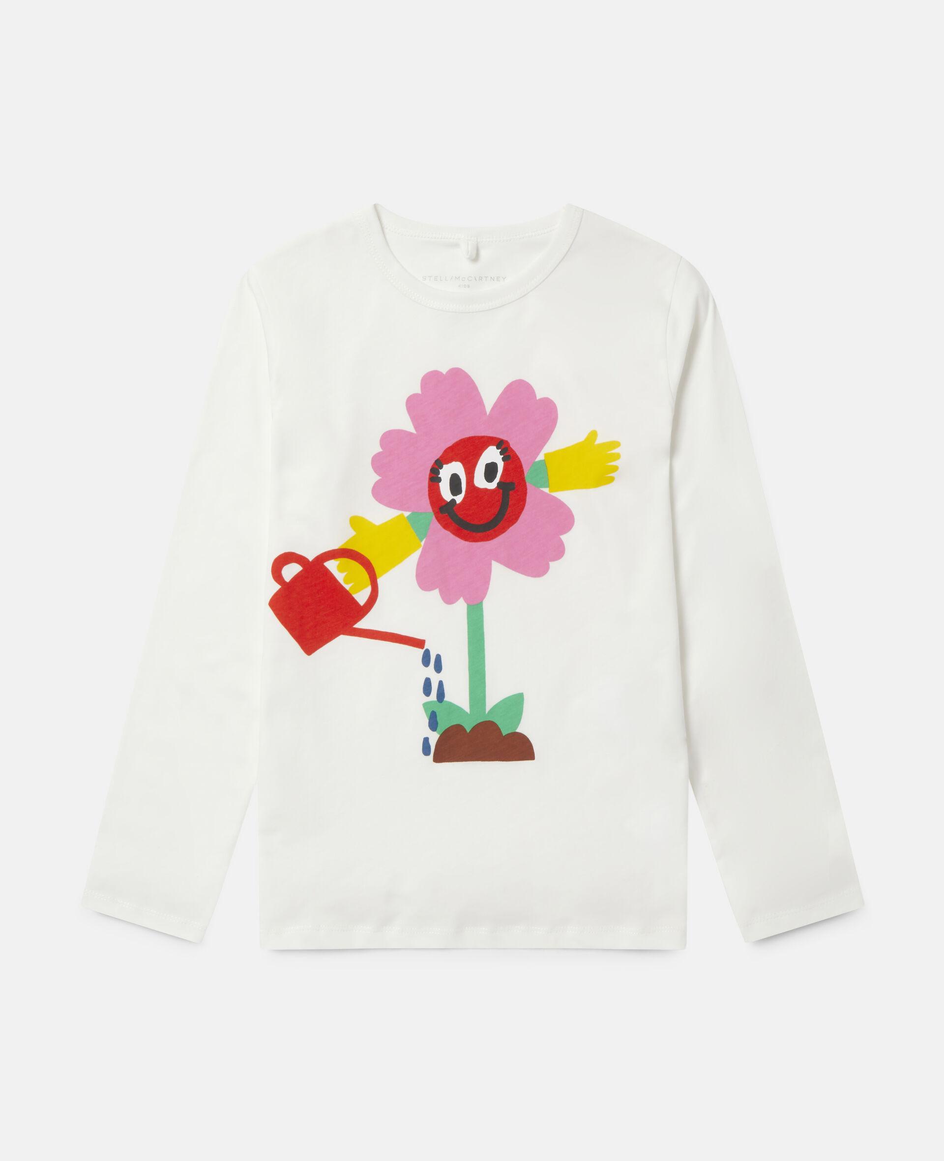 T-Shirt in Cotone con Fiore che si Innaffia -Bianco-large image number 0