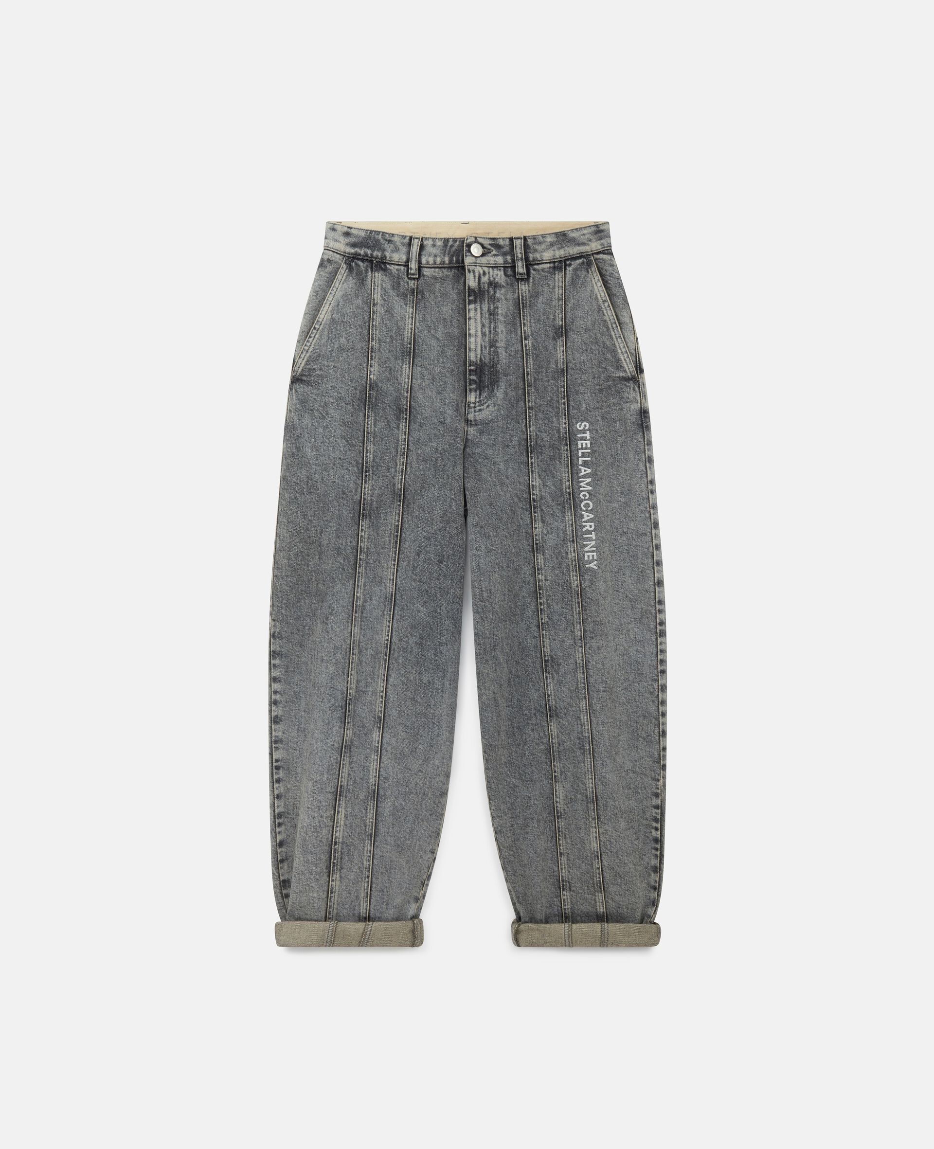 Jeans con Logo Ricamato -Grigio-large image number 0